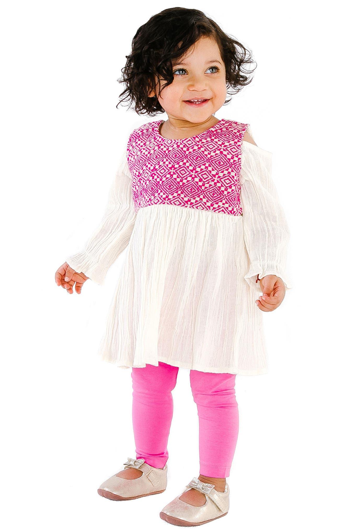 Layla Jacquard Cold Shoulder Dress,                             Alternate thumbnail 2, color,                             PINK