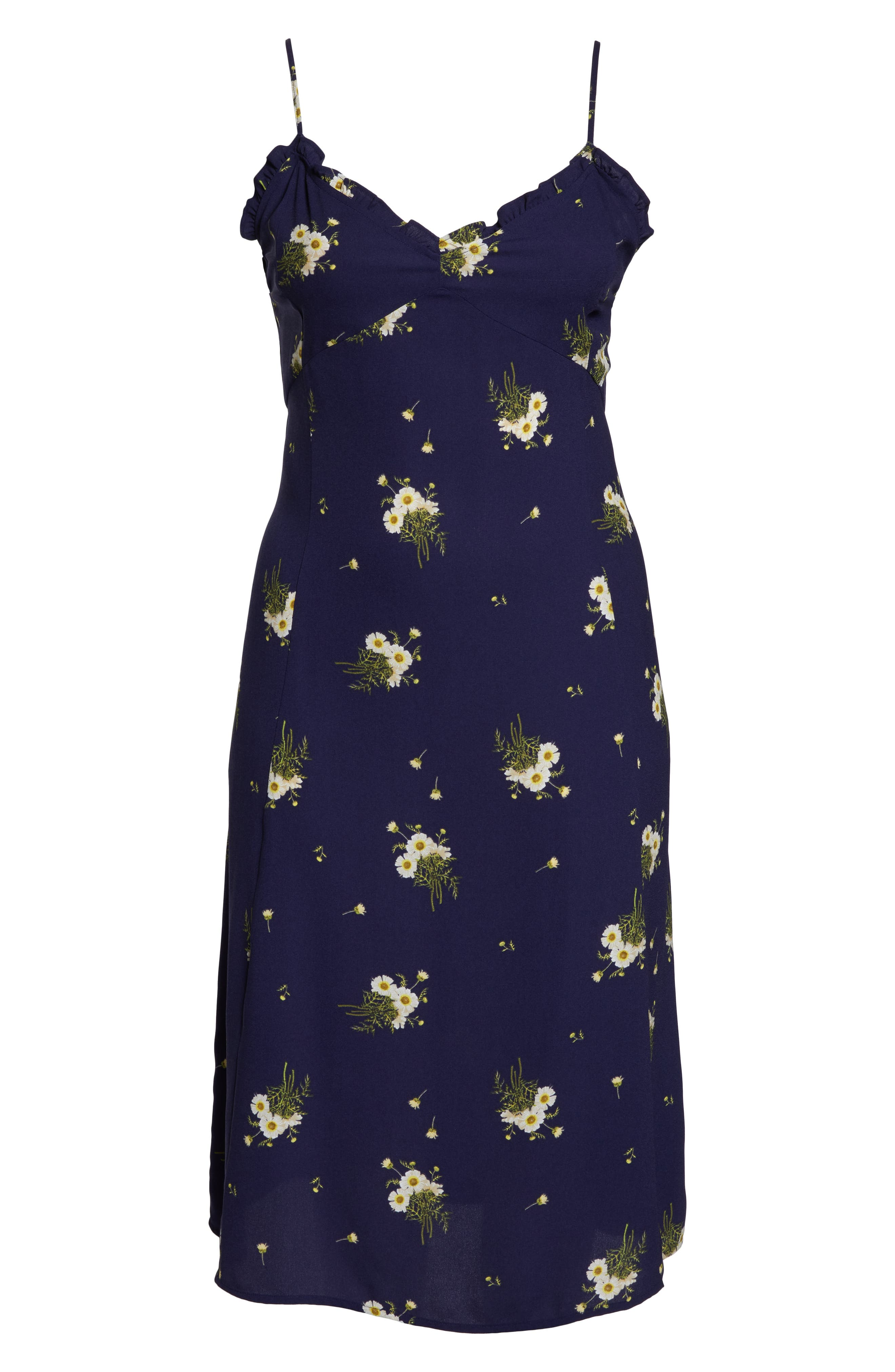 BP.,                             Ruffle Trim Floral Print Midi Dress,                             Alternate thumbnail 13, color,                             NAVY EVENING DAISY