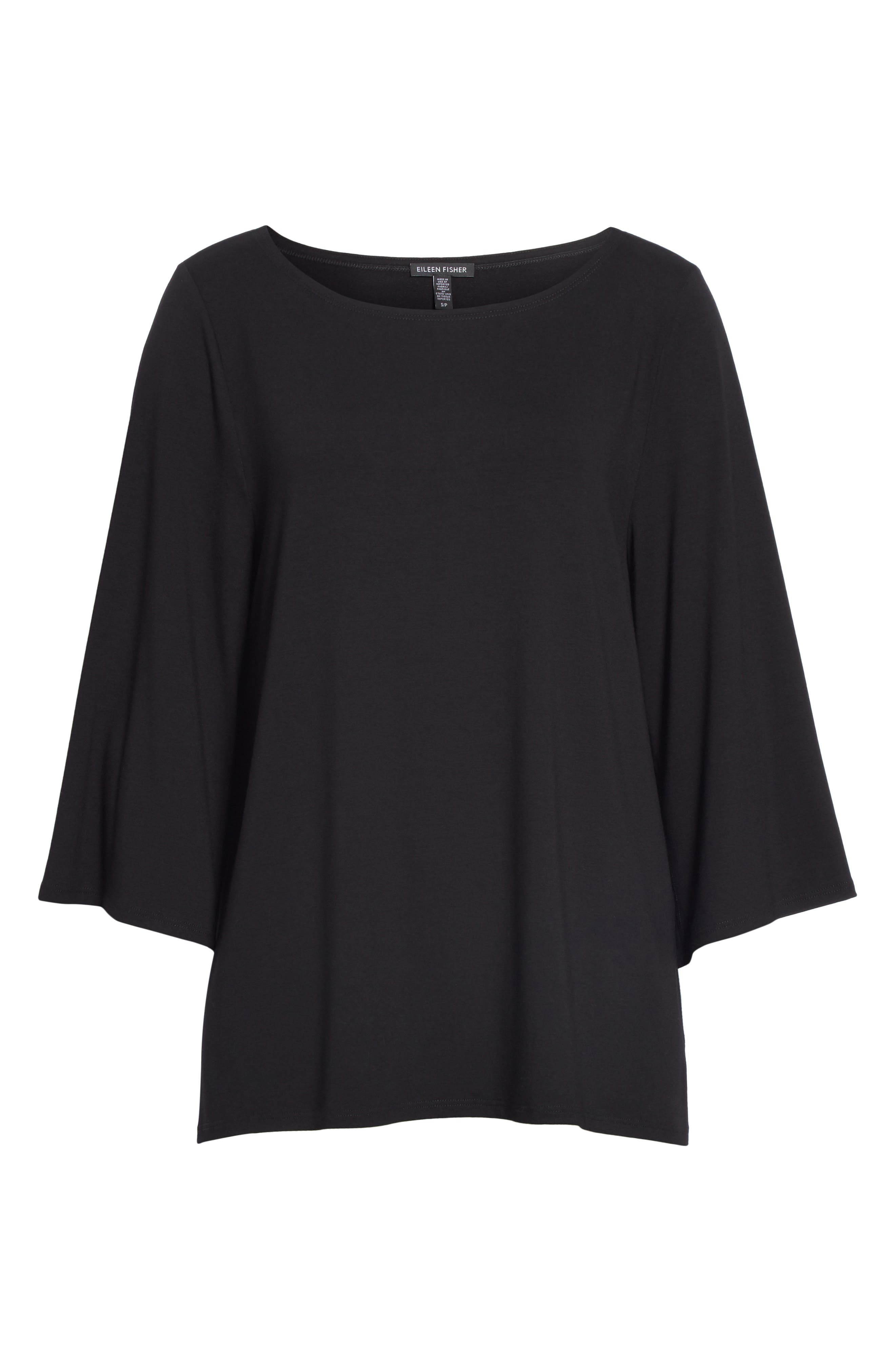 Bell Sleeve Jersey Top,                             Alternate thumbnail 6, color,                             BLACK