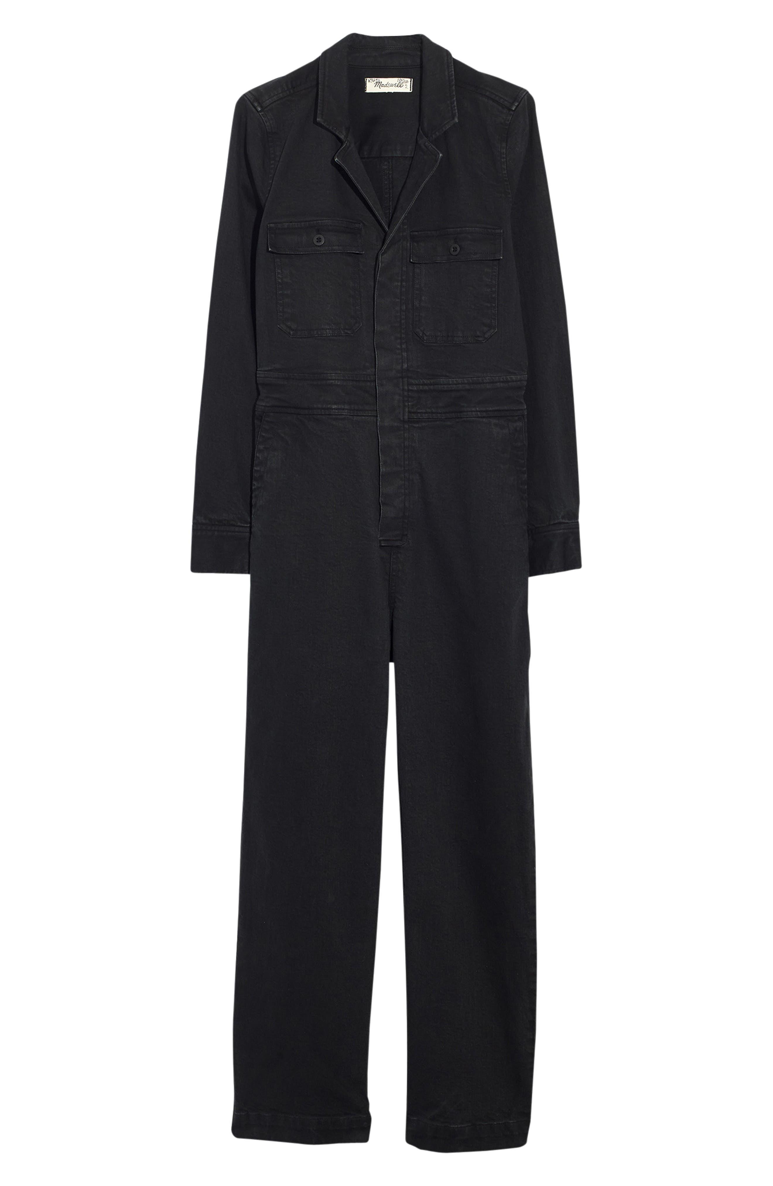 Garment Dyed Denim Slim Coverall Jumpsuit,                             Alternate thumbnail 4, color,                             CLASSIC BLACK