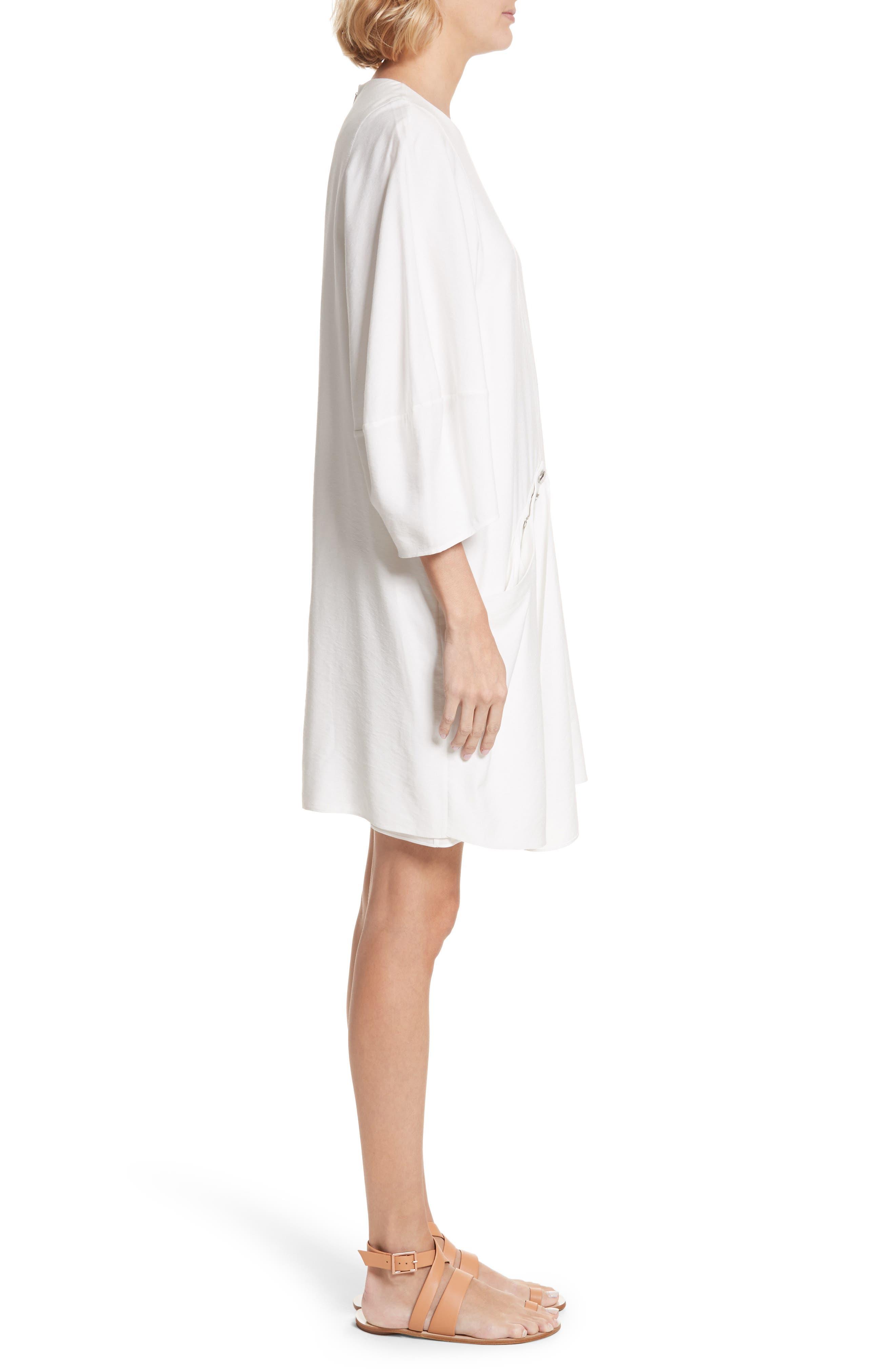 Asymmetrical Flap Front Dress,                             Alternate thumbnail 3, color,                             100