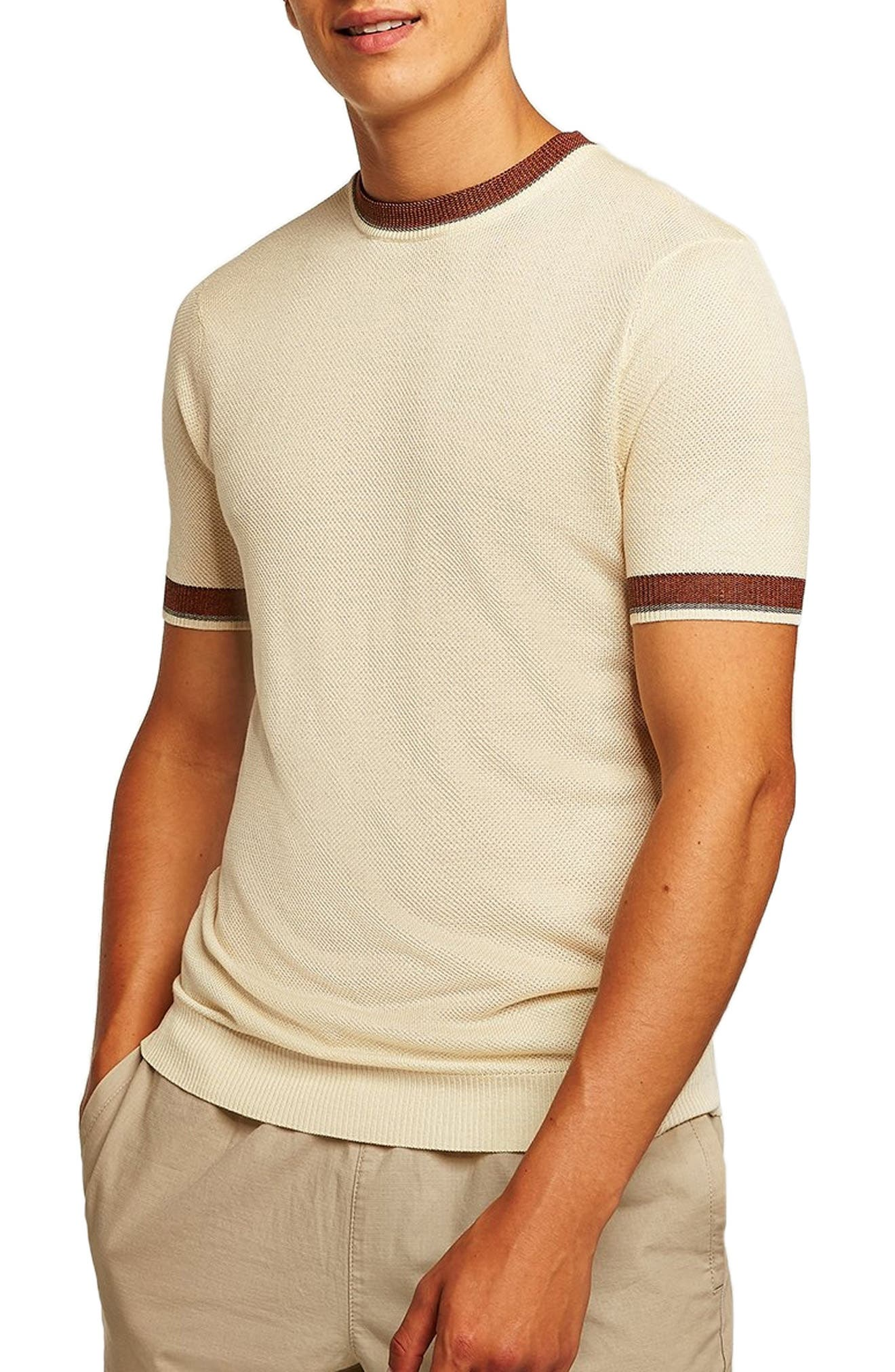 Tipping Classic Fit Short Sleeve Sweater,                             Main thumbnail 1, color,                             CREAM