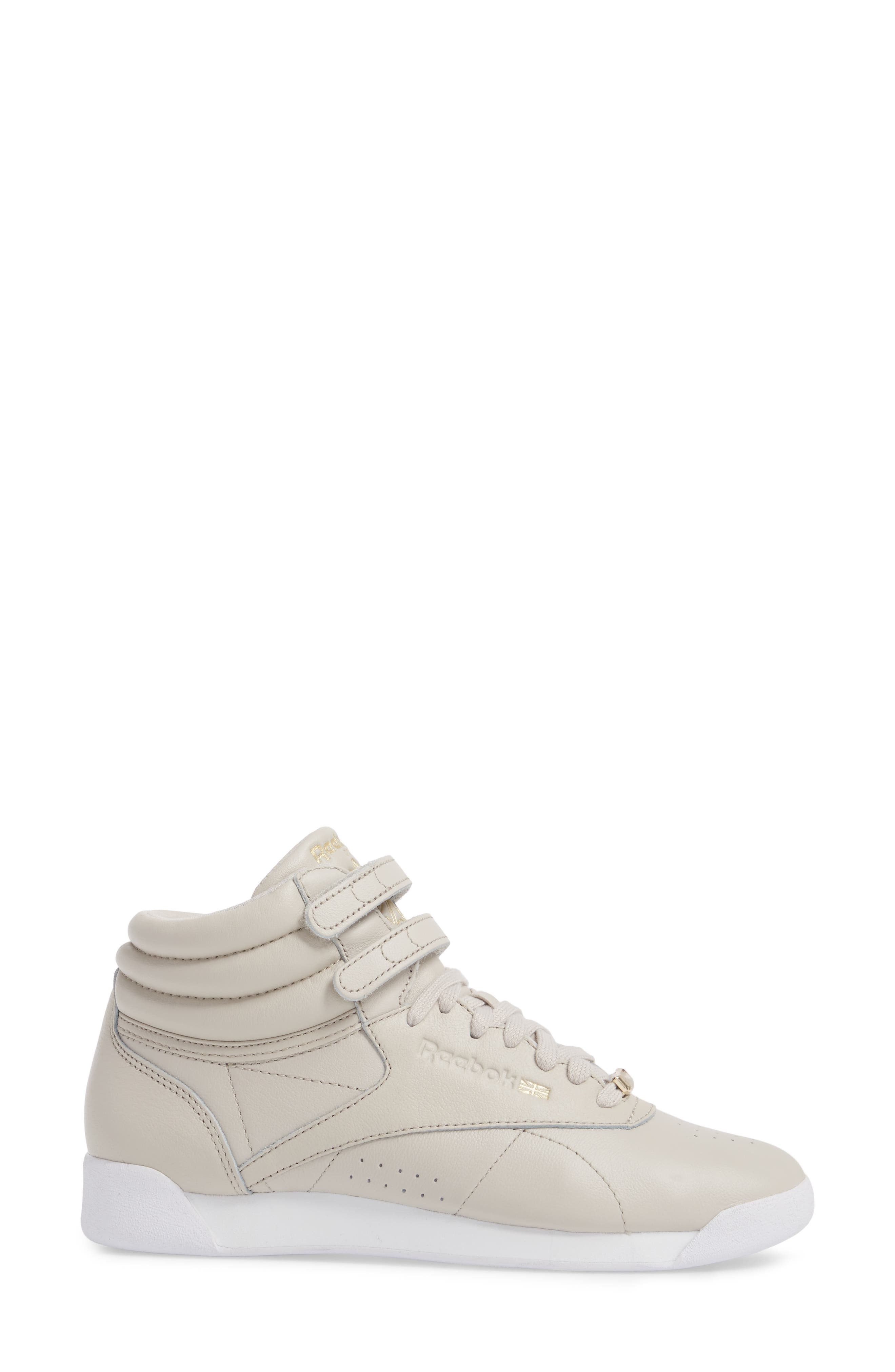 Freestyle Hi Muted Sneaker,                             Alternate thumbnail 3, color,                             SANDSTONE/ WHITE