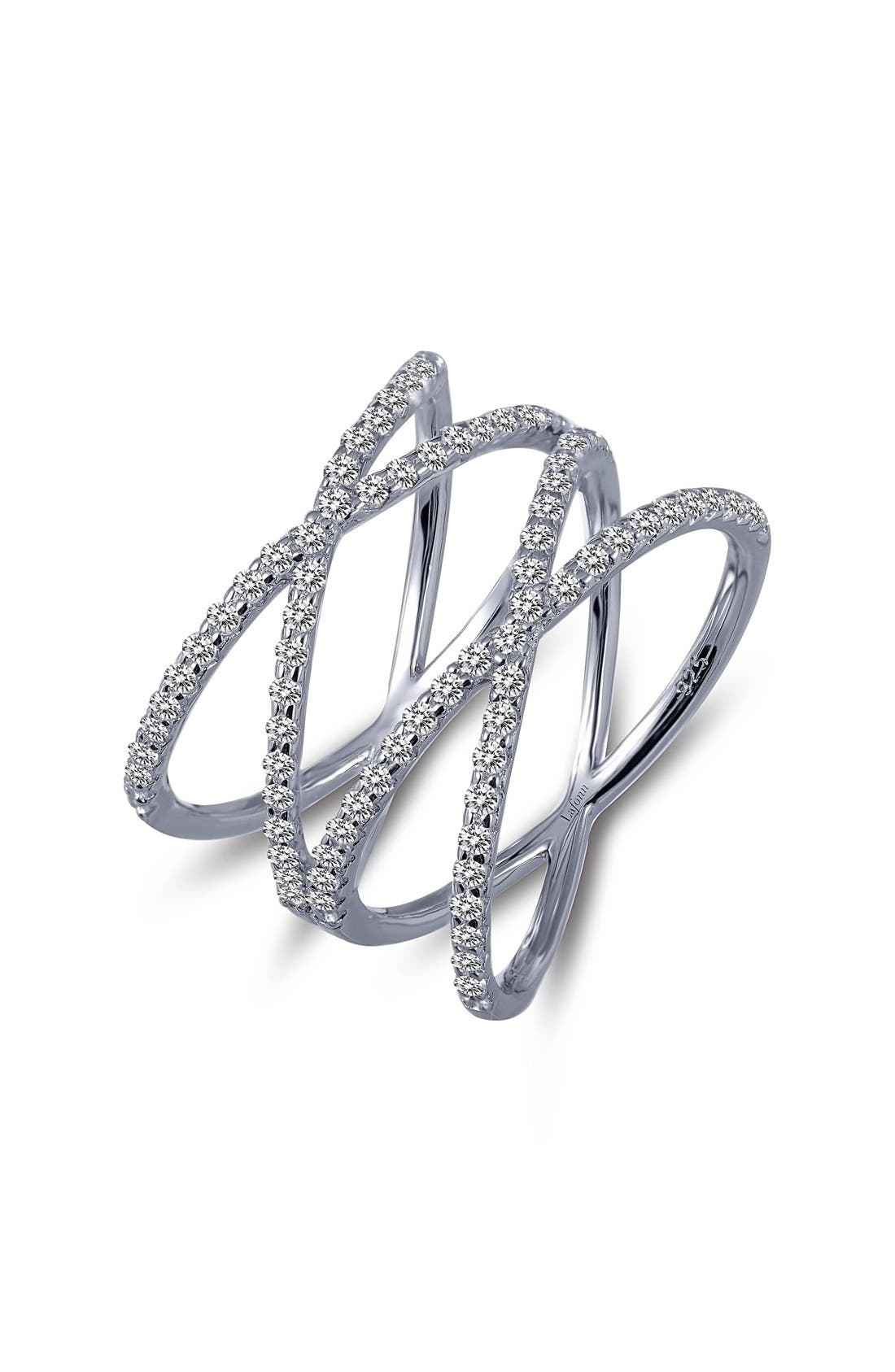 Double Crisscross Ring,                             Main thumbnail 1, color,                             SILVER