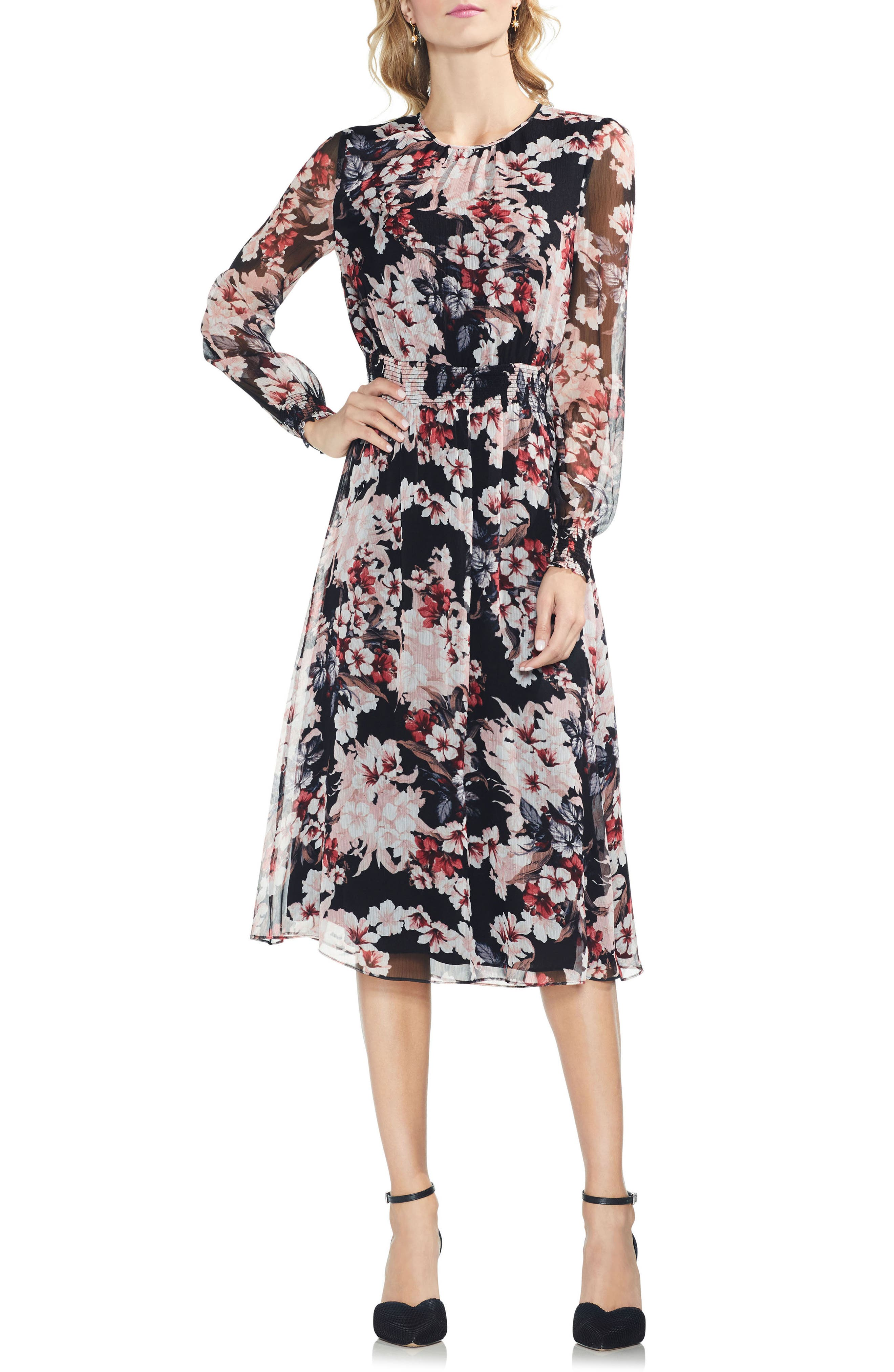 VINCE CAMUTO Timeless Blooms Cinch Waist Midi Dress, Main, color, 006