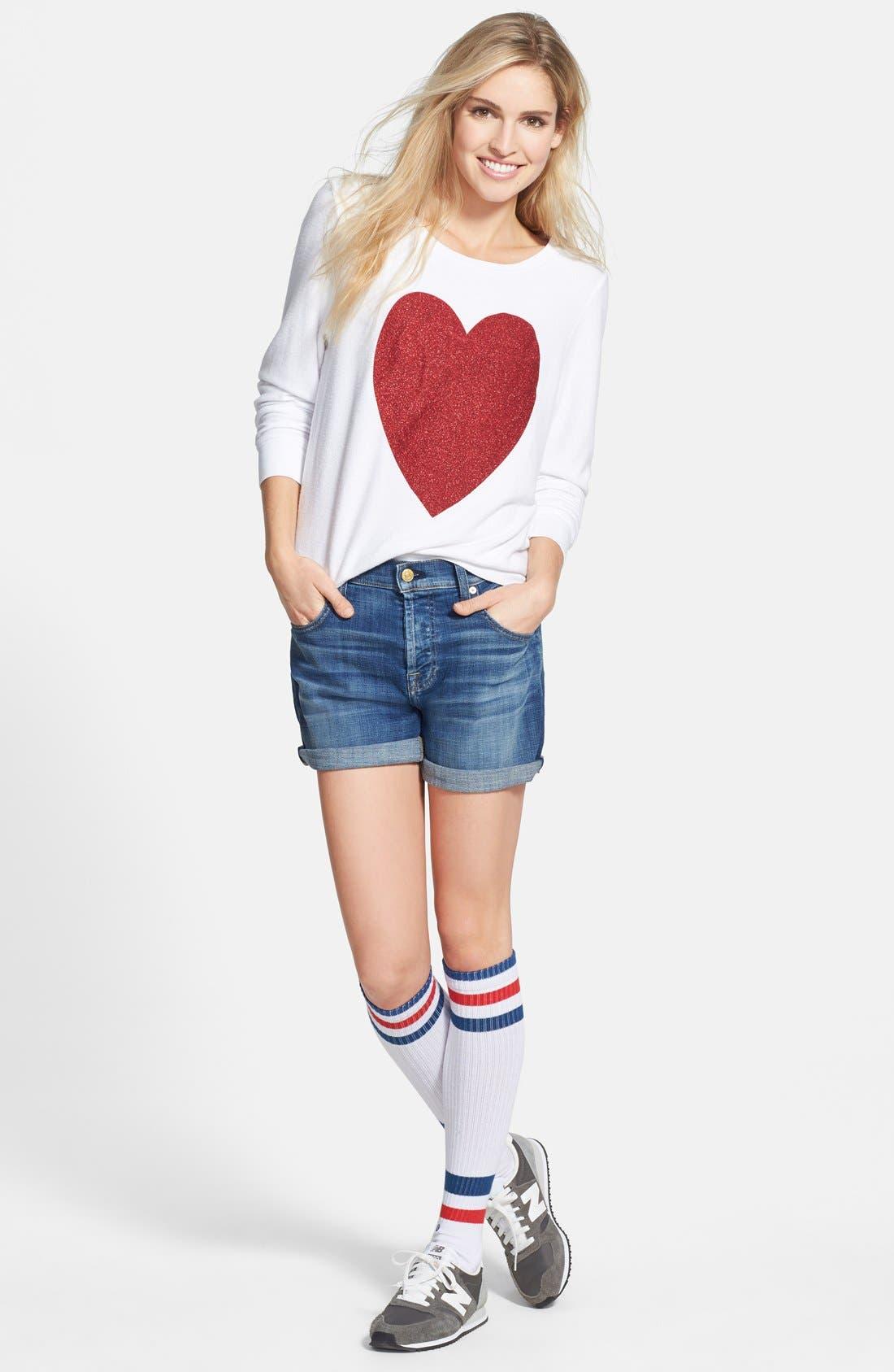 'Sparkle Heart' Sweatshirt,                             Alternate thumbnail 4, color,                             004