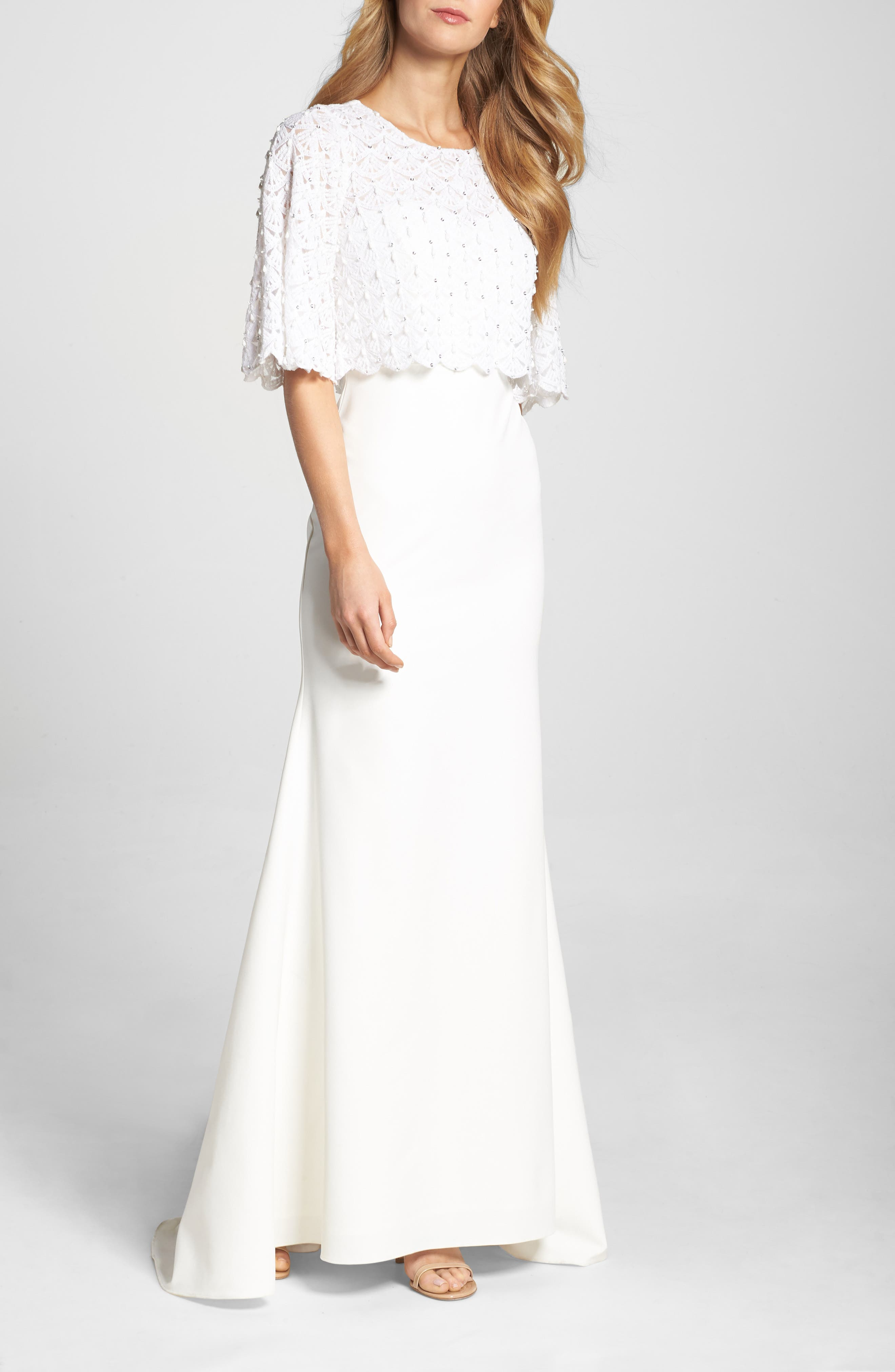 Lotus Threads Elbow Sleeve Lace Overlay Gown, Ivory
