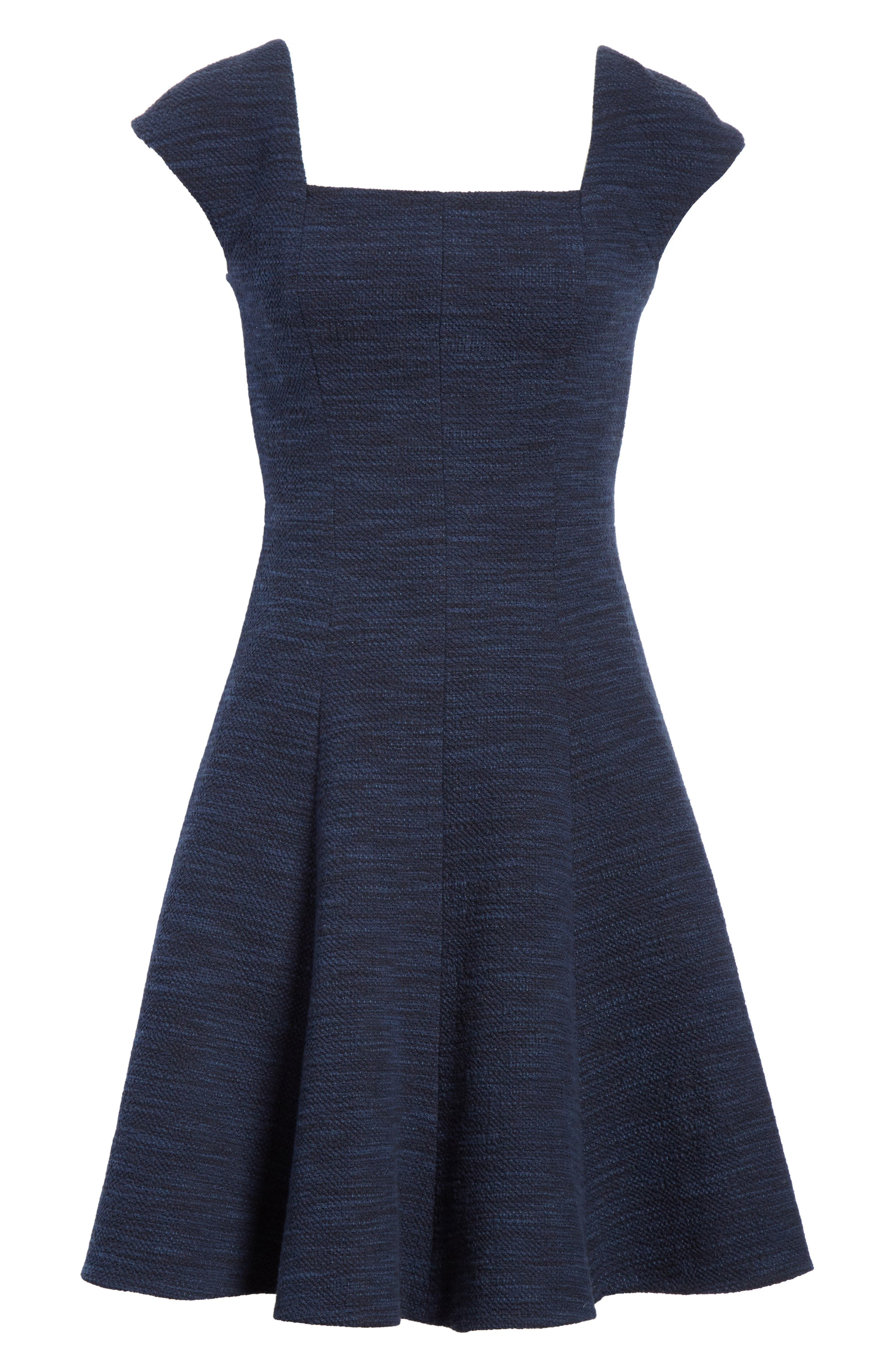 Tweed Fit & Flare Dress,                             Alternate thumbnail 6, color,