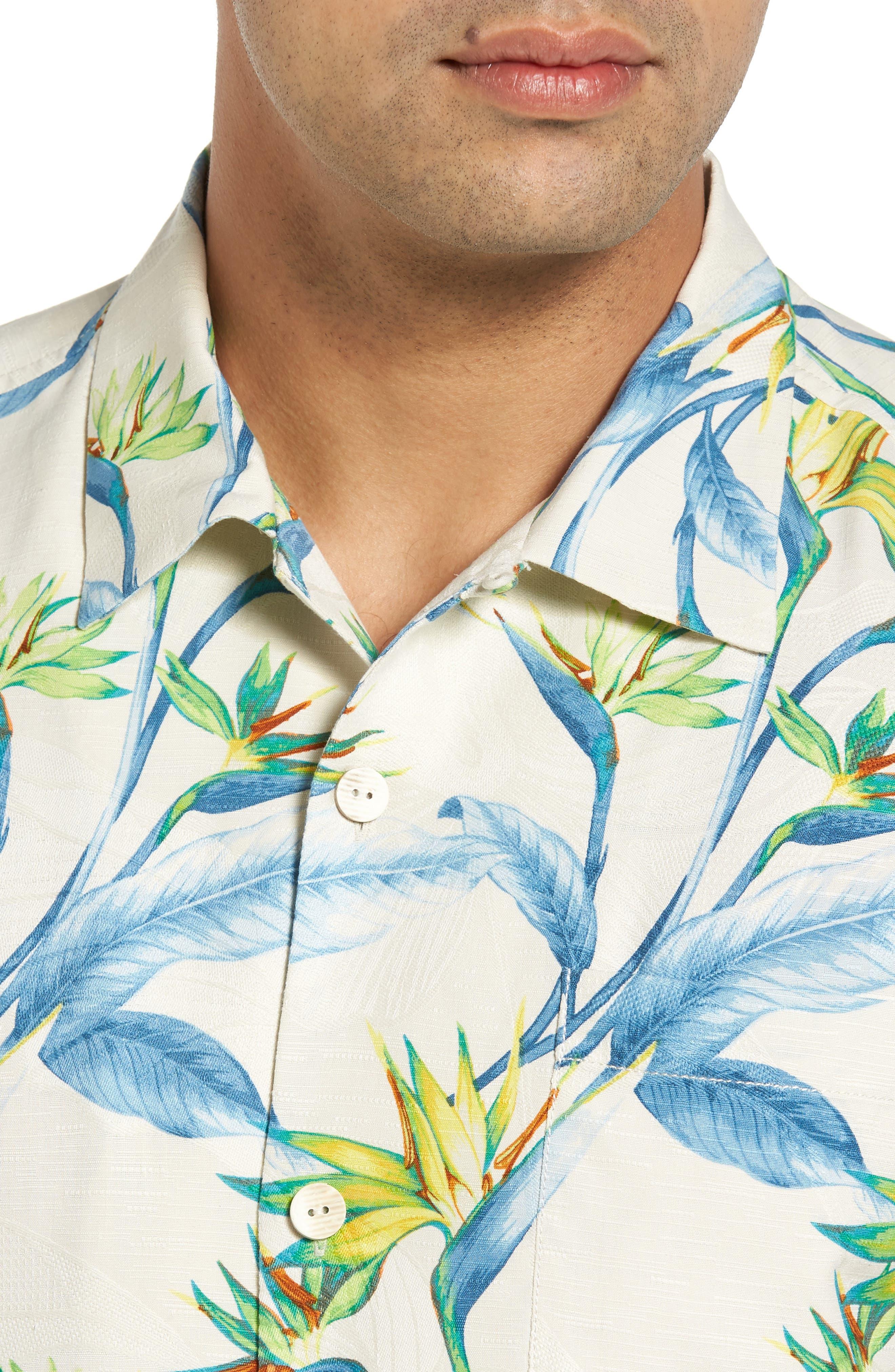 Porto de Paradise Silk Sport Shirt,                             Alternate thumbnail 4, color,                             100