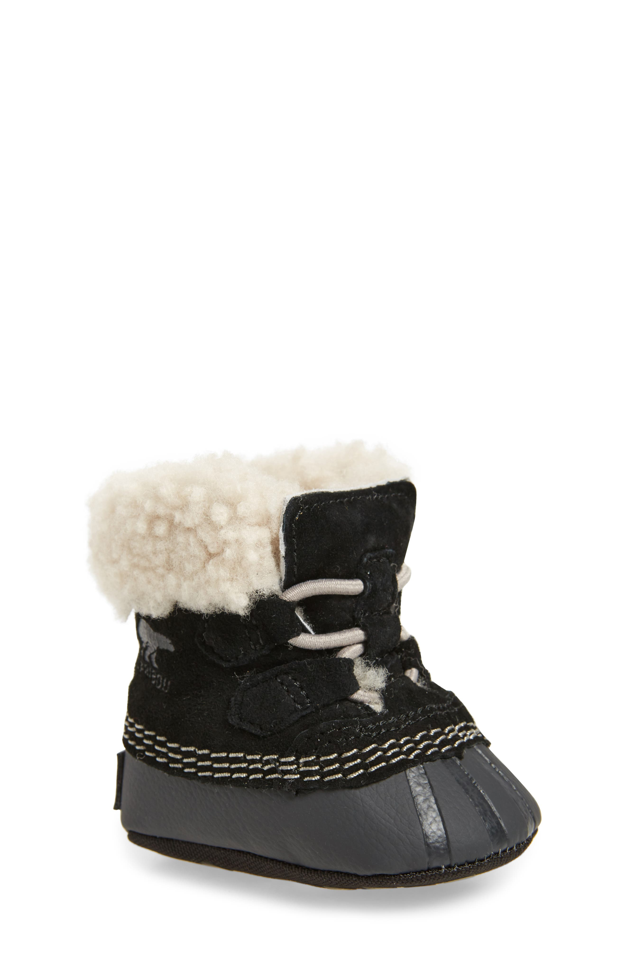 Caribootie Genuine Shearling Crib Shoe,                             Main thumbnail 1, color,                             001