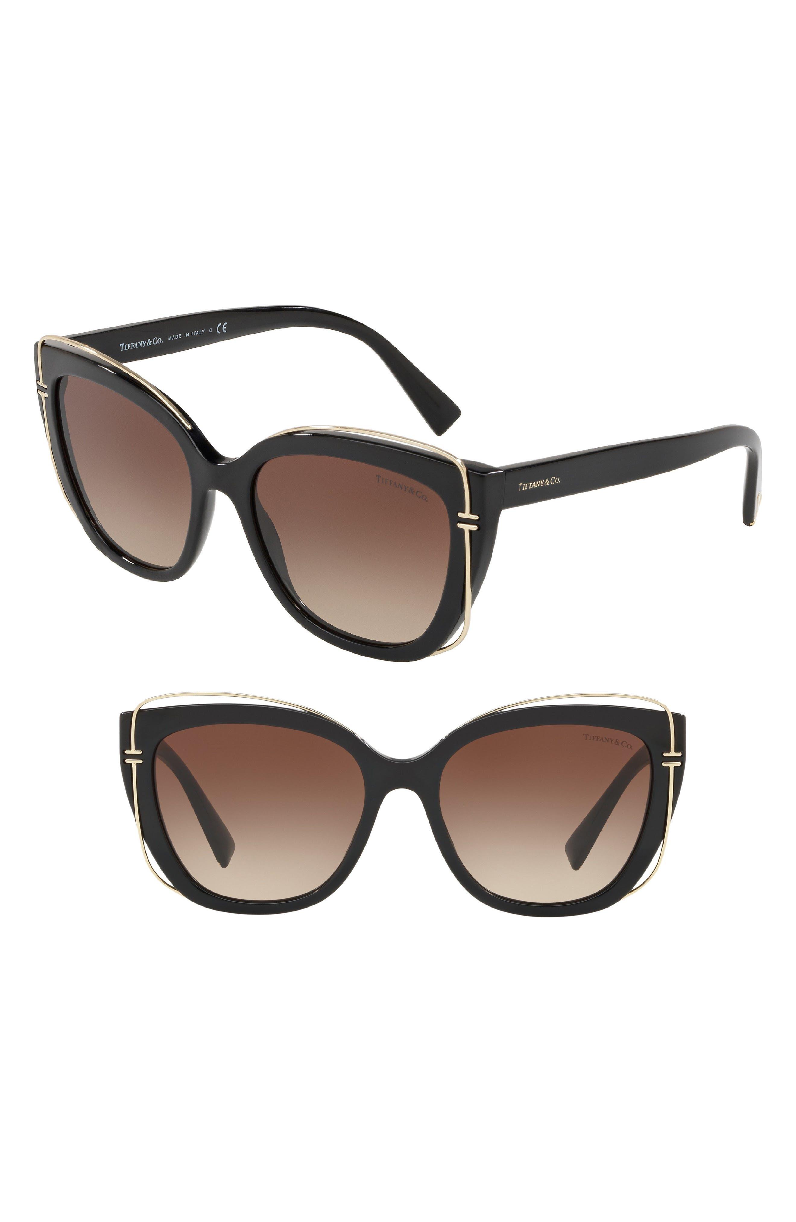 54mm Gradient Cat Eye Sunglasses,                             Main thumbnail 1, color,                             BLACK GRADIENT