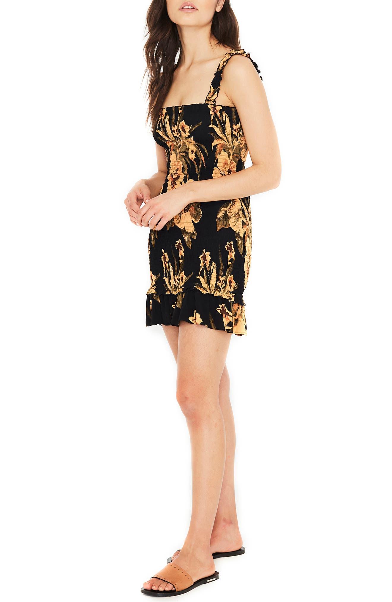 Del Mar Smocked Dress,                             Alternate thumbnail 3, color,                             CARIBBEAN PRINT