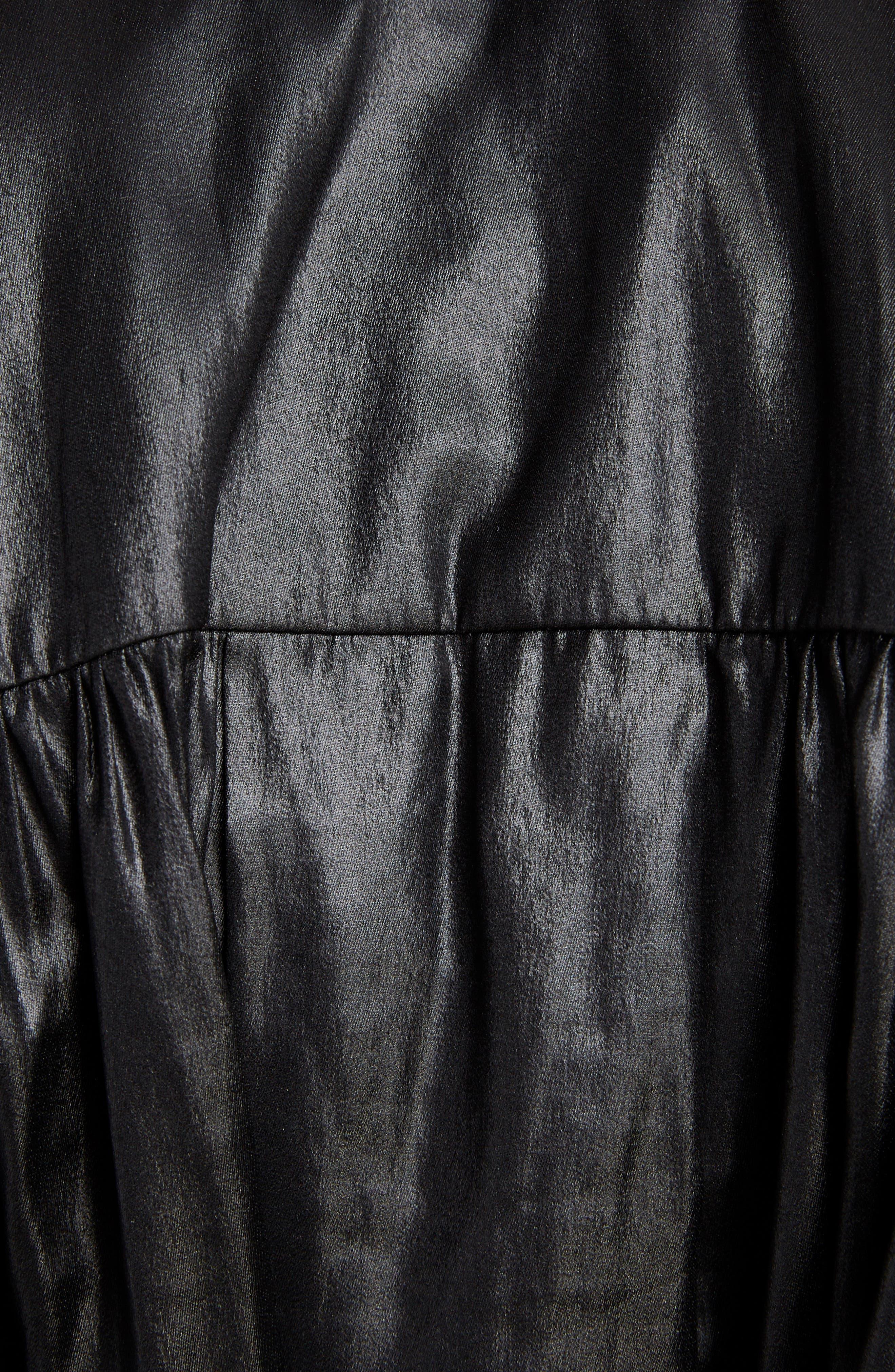 Coated Tie Neck Blouse,                             Alternate thumbnail 5, color,                             001