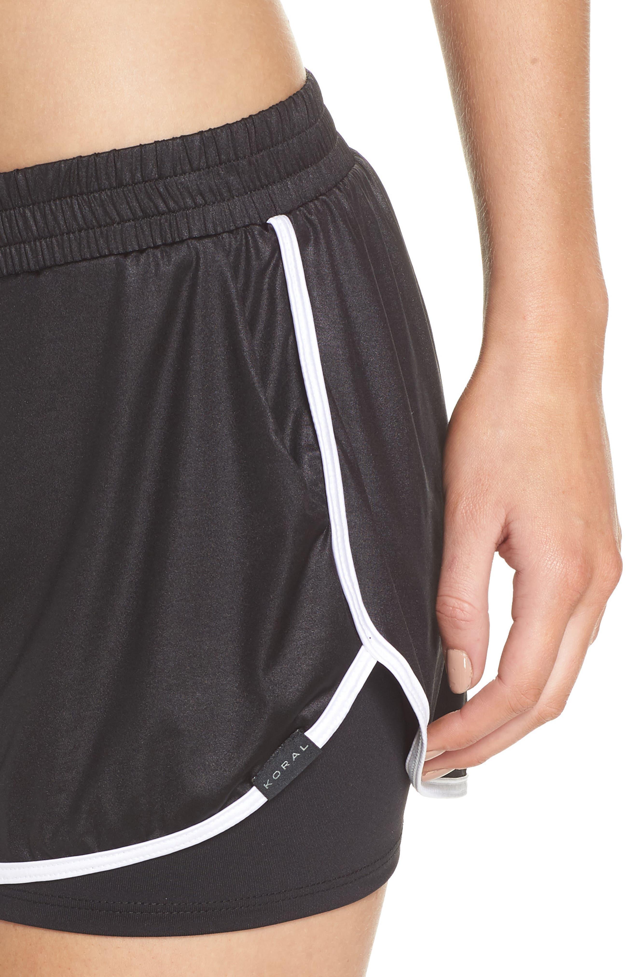 Scout Gym Shorts,                             Alternate thumbnail 4, color,                             BLACK/ WHITE