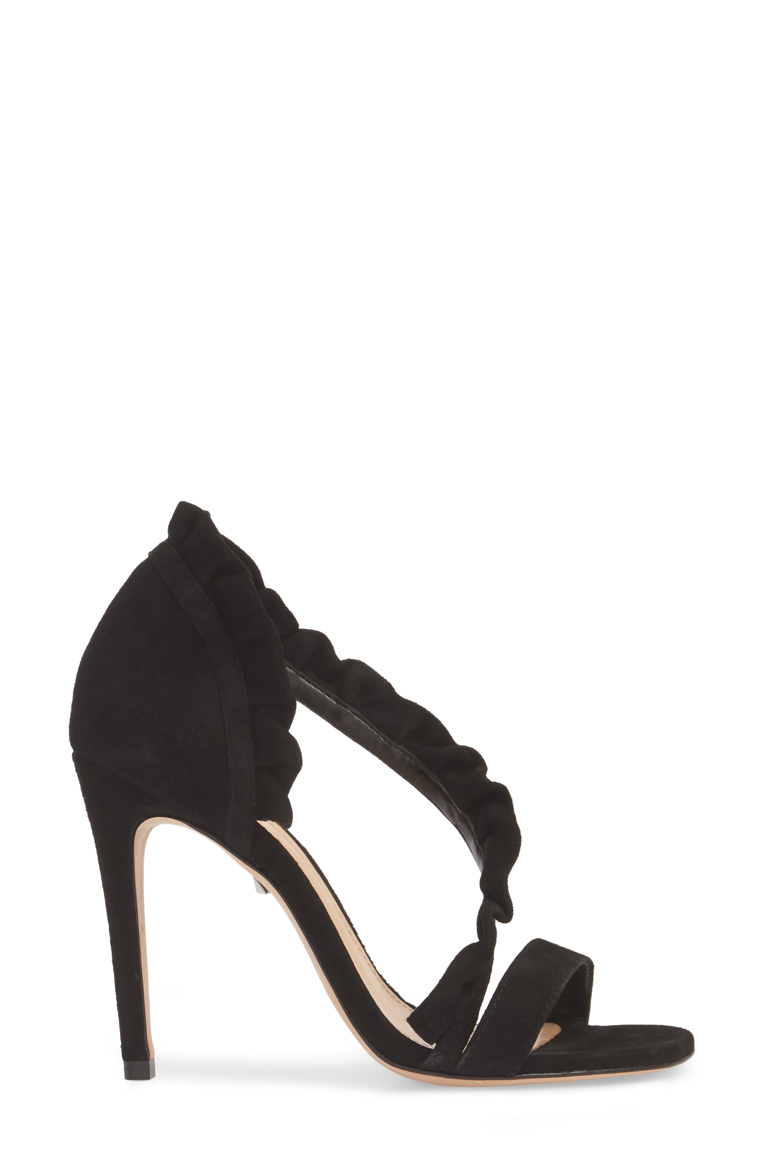 Aim Ruffle Sandal,                             Alternate thumbnail 3, color,                             BLACK SUEDE