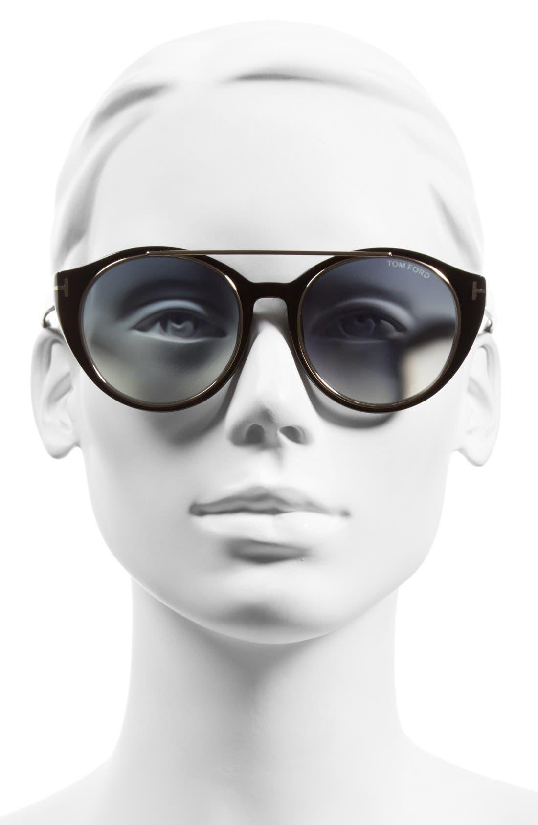 'Joan' 52mm Round Sunglasses,                             Alternate thumbnail 2, color,                             BLACK/ GOLD/ GRADIENT BLUE