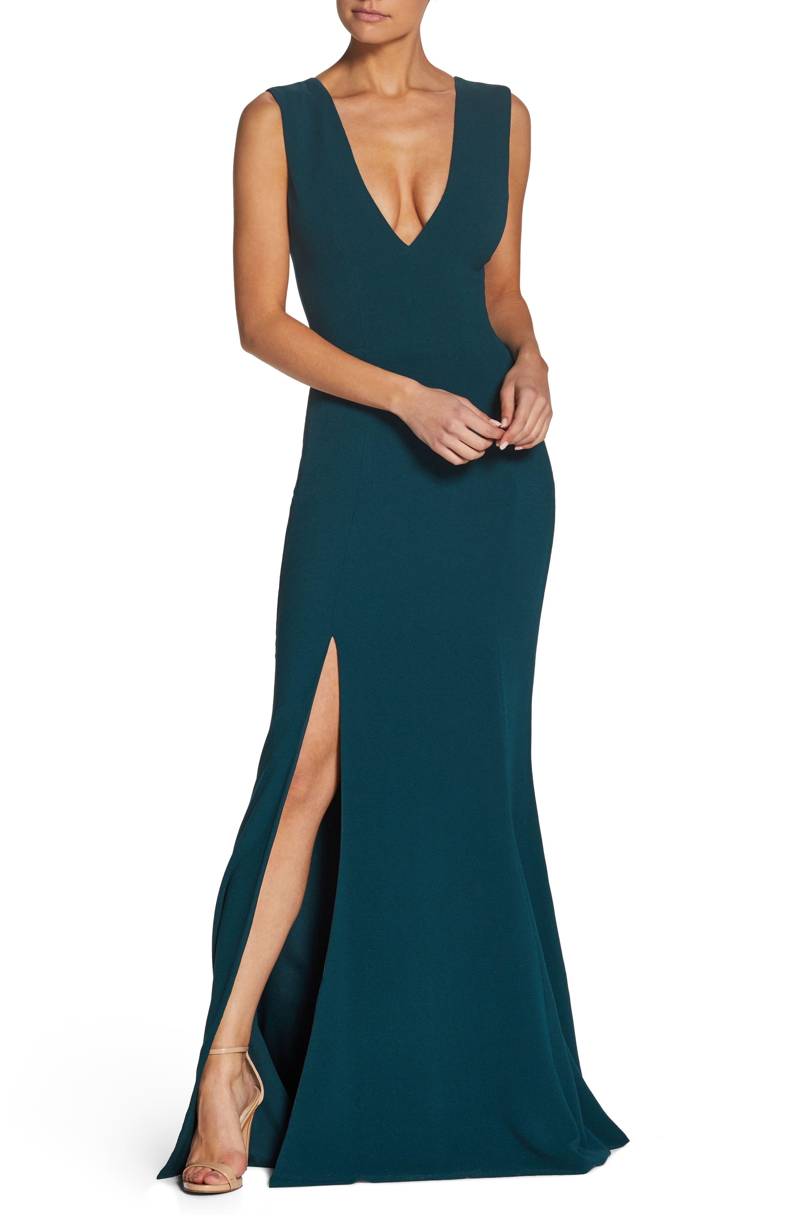 Sandra Plunge Crepe Trumpet Gown,                         Main,                         color, PINE