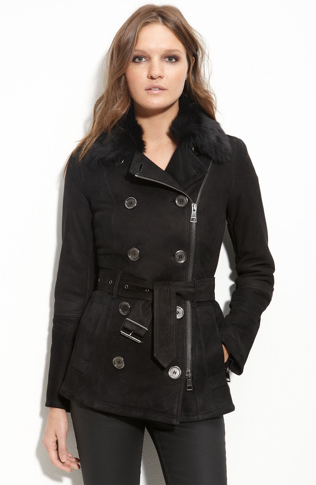 Belted Shearling Coat,                             Main thumbnail 1, color,                             001