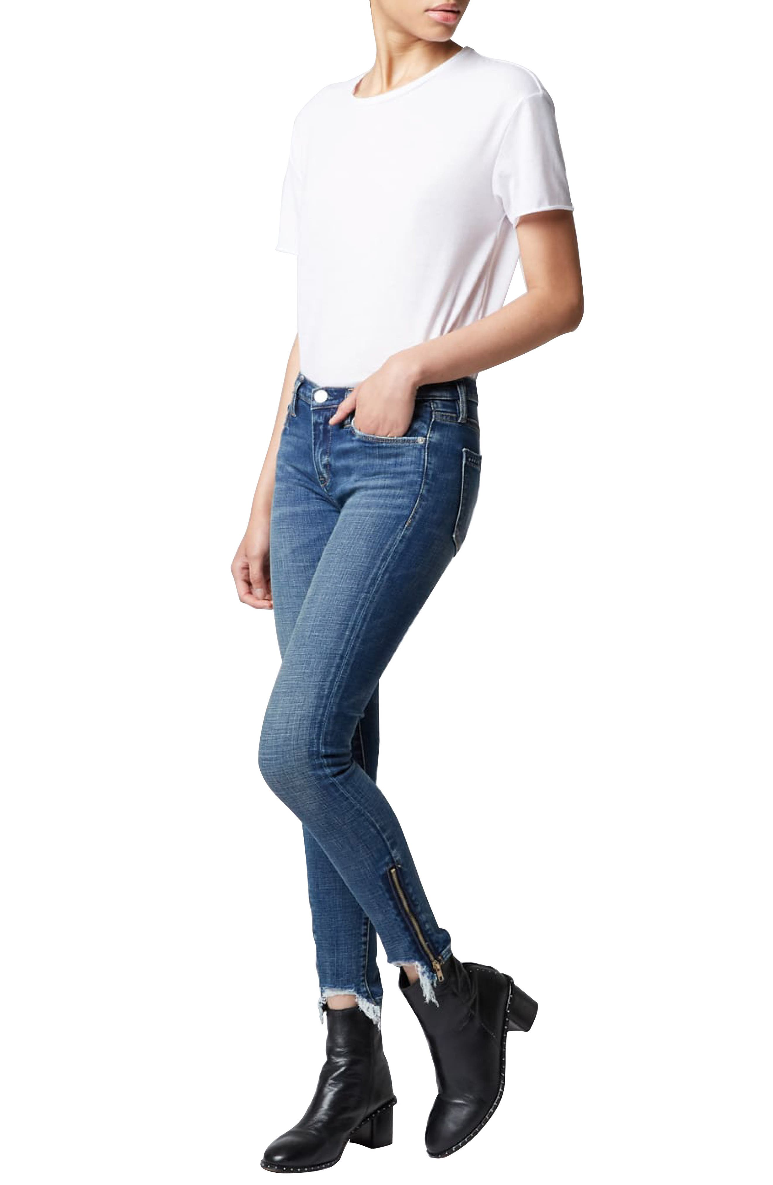 The Reade Stagger Hem Skinny Jeans,                             Alternate thumbnail 4, color,                             INTEROFFICE