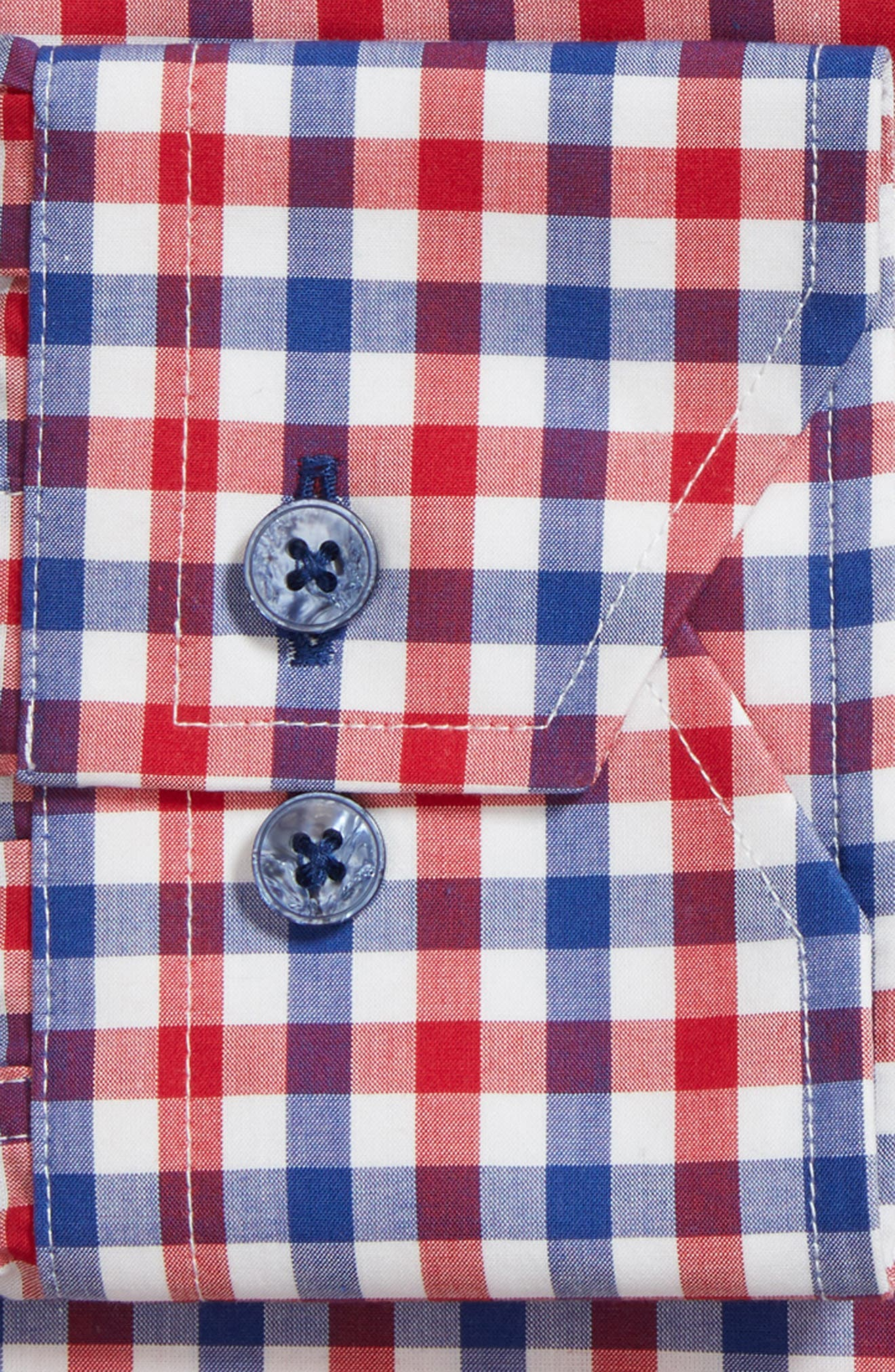 Trim Fit Check Dress Shirt,                             Alternate thumbnail 6, color,                             NAVY/ RED