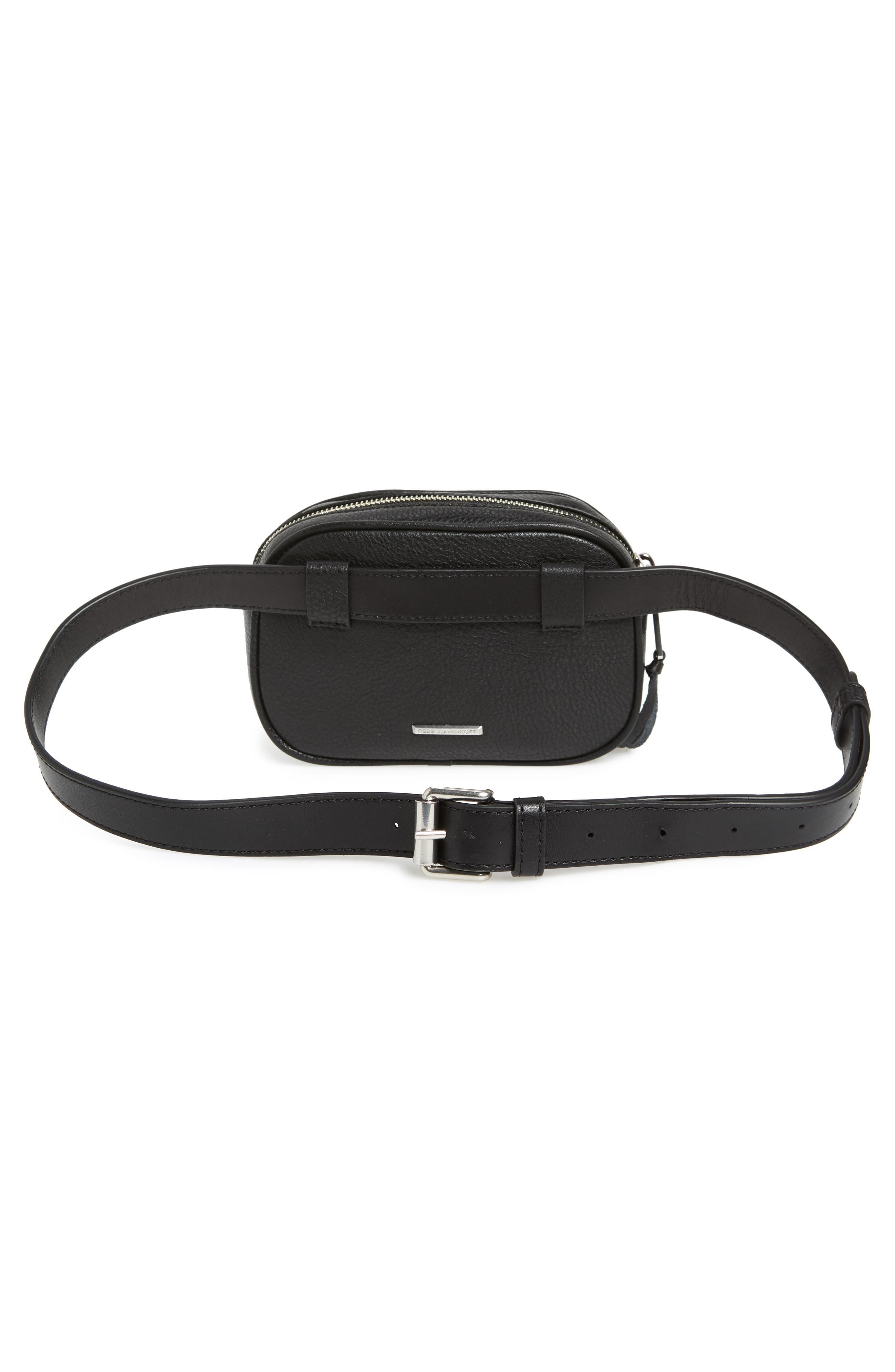 Blythe Leather Belt Bag,                             Alternate thumbnail 4, color,                             BLACK