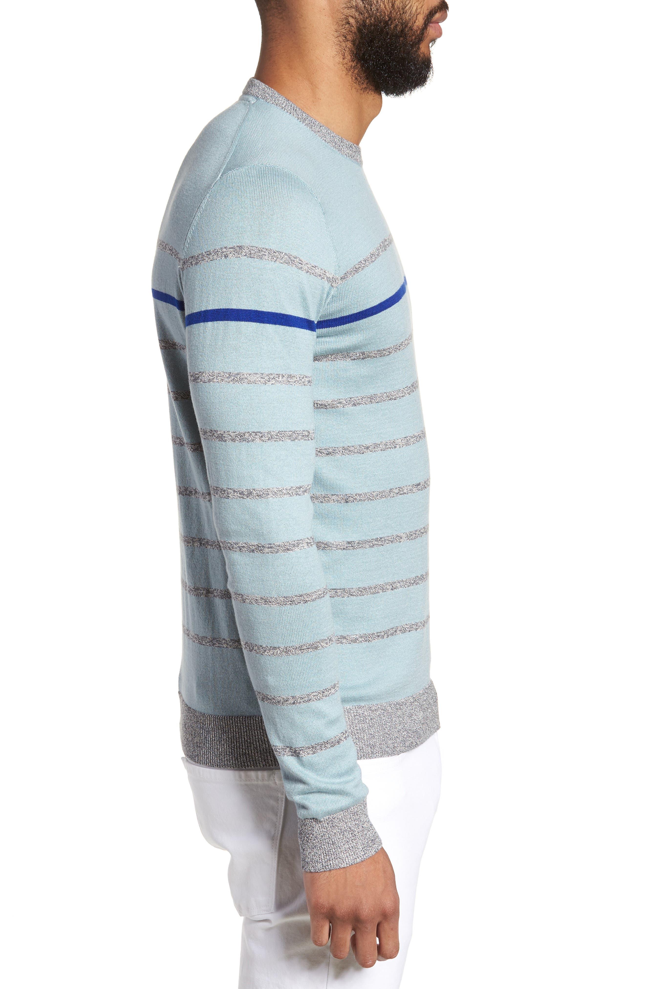 Britnay Trim Fit Stripe Crewneck Sweater,                             Alternate thumbnail 3, color,                             400
