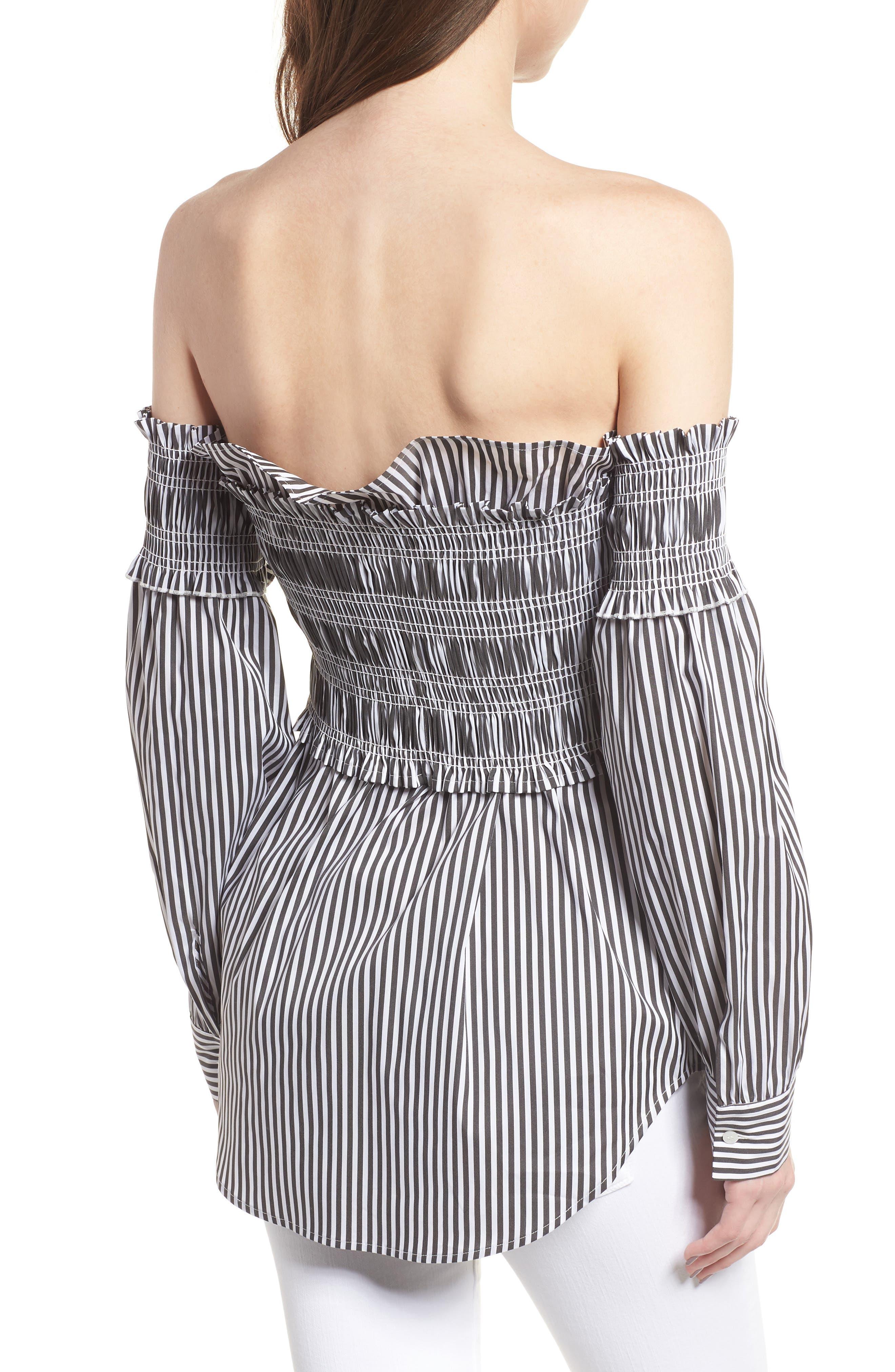 Stripe Smocked Corset Shirt,                             Alternate thumbnail 2, color,                             001