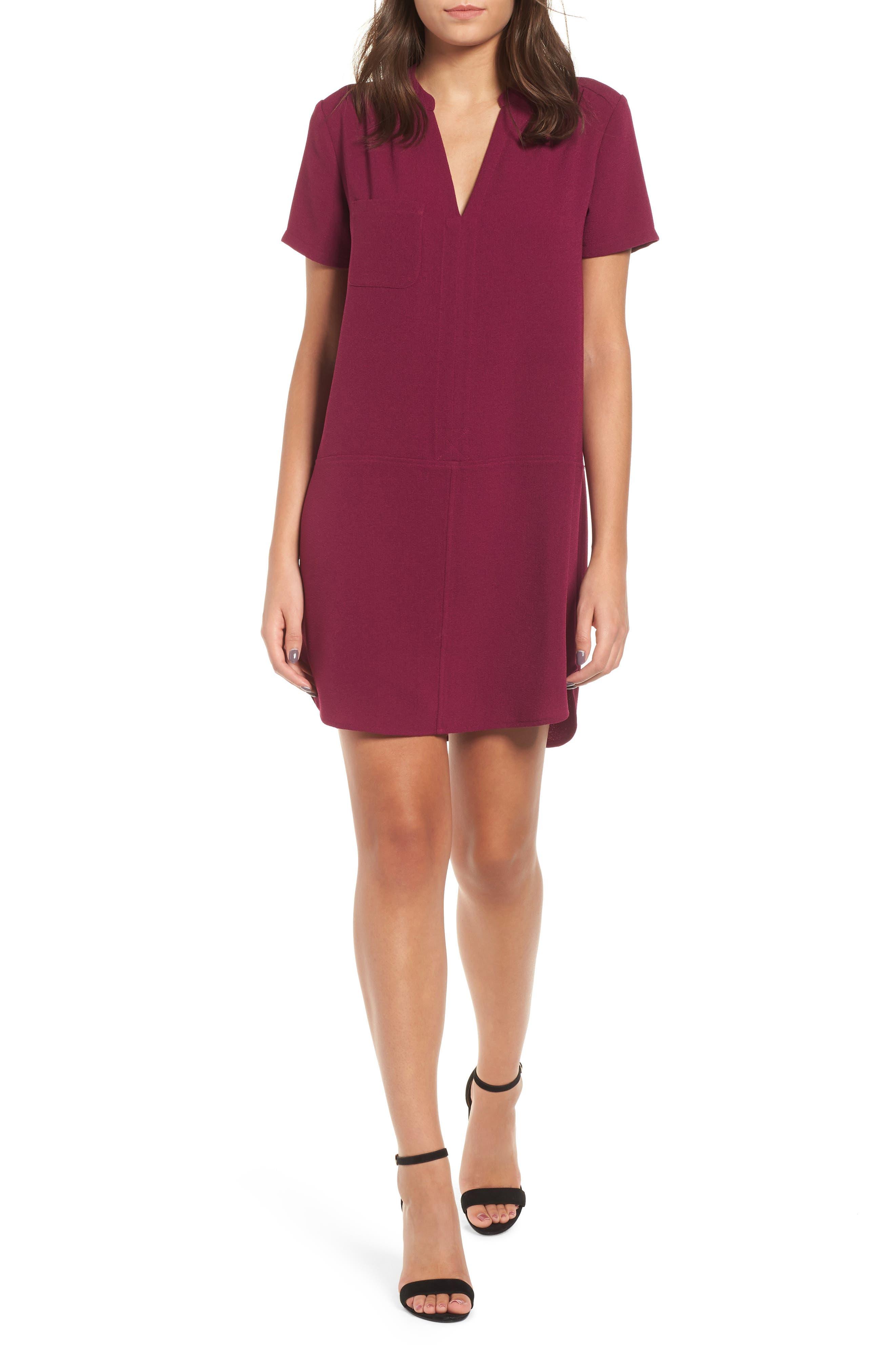 Hailey Crepe Dress, Main, color, PURPLE MAGENTA