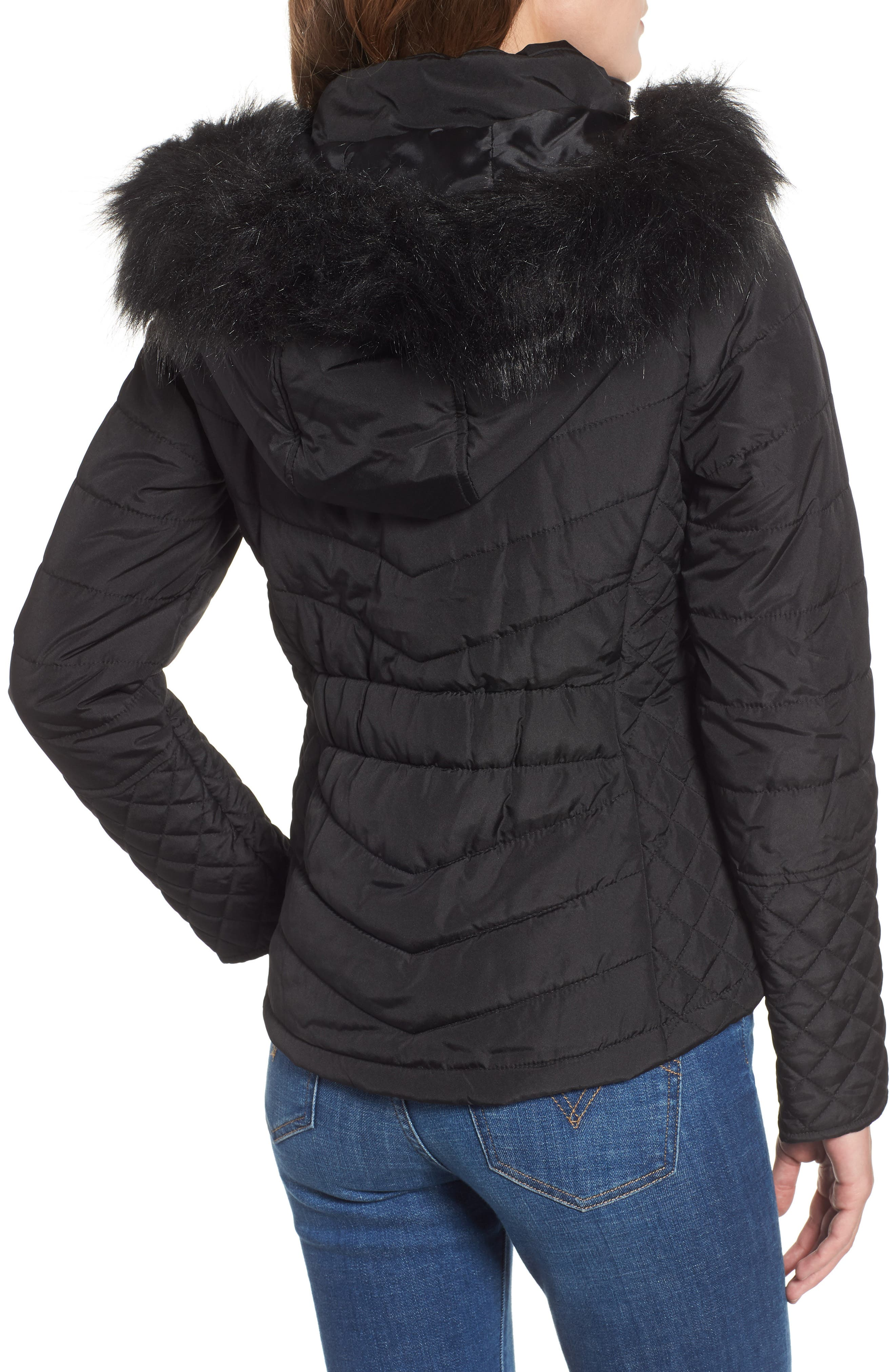 Water-Resistant Hooded Coat with Faux Fur Trim,                             Alternate thumbnail 2, color,                             001