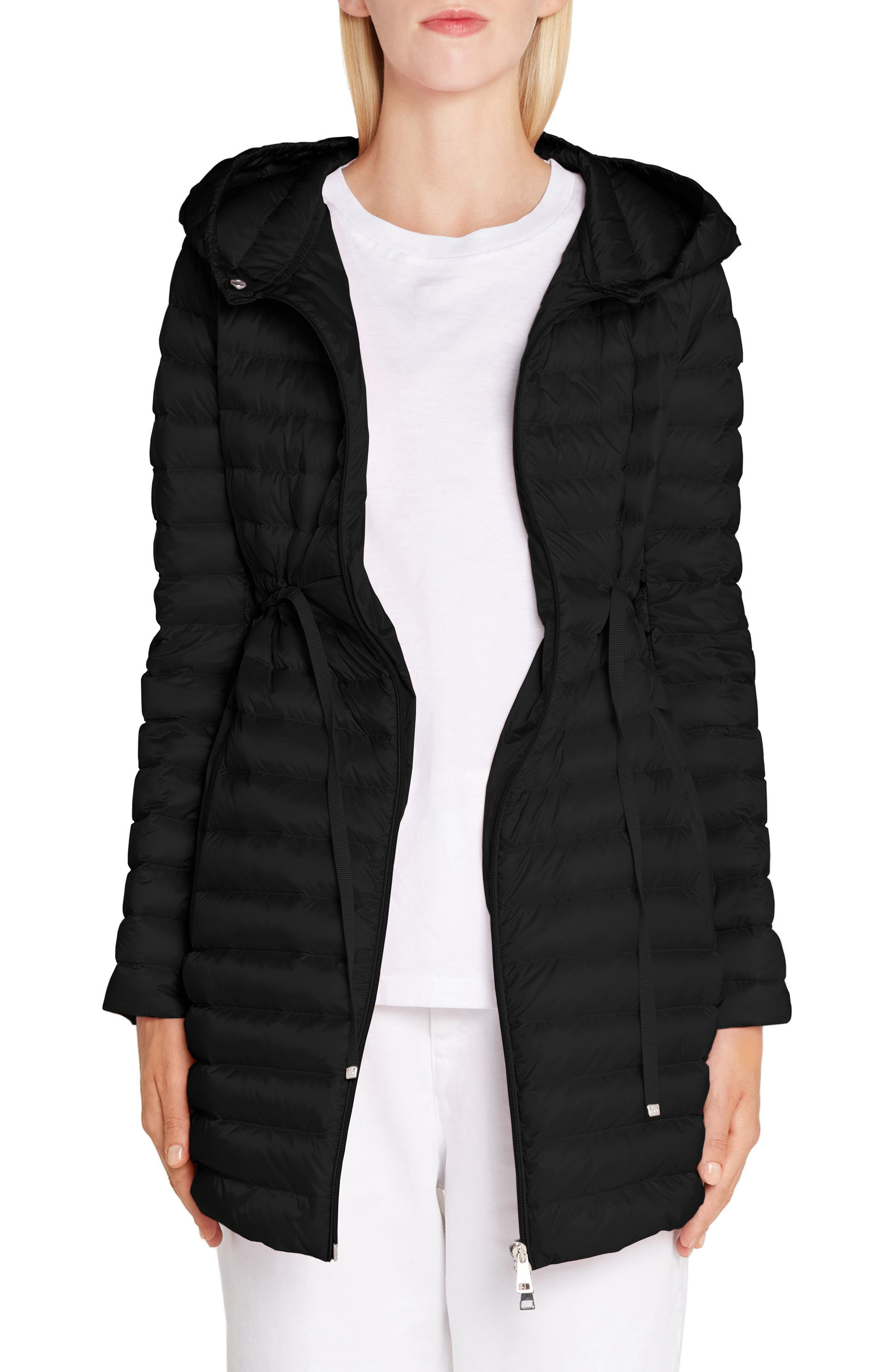 Moncler Barbel Tie Waist Hooded Down Coat, Black