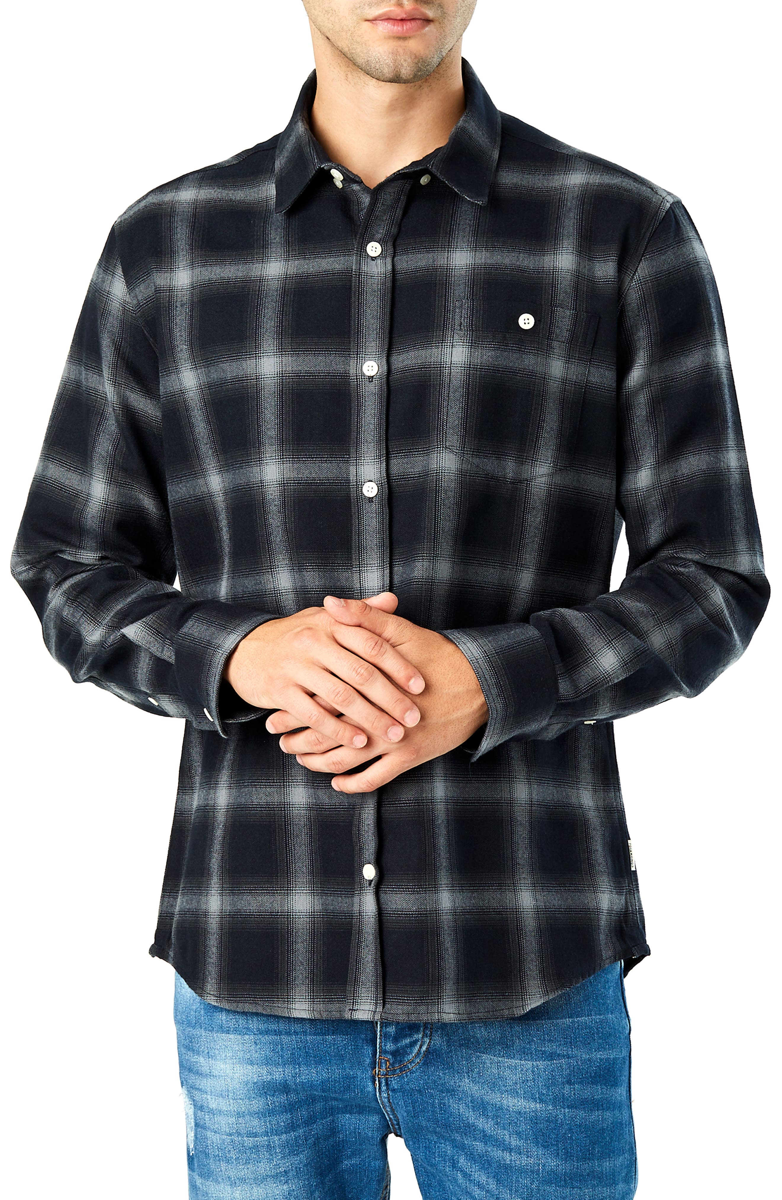 Hawk Slim Fit Sport Shirt,                         Main,                         color, BLACK