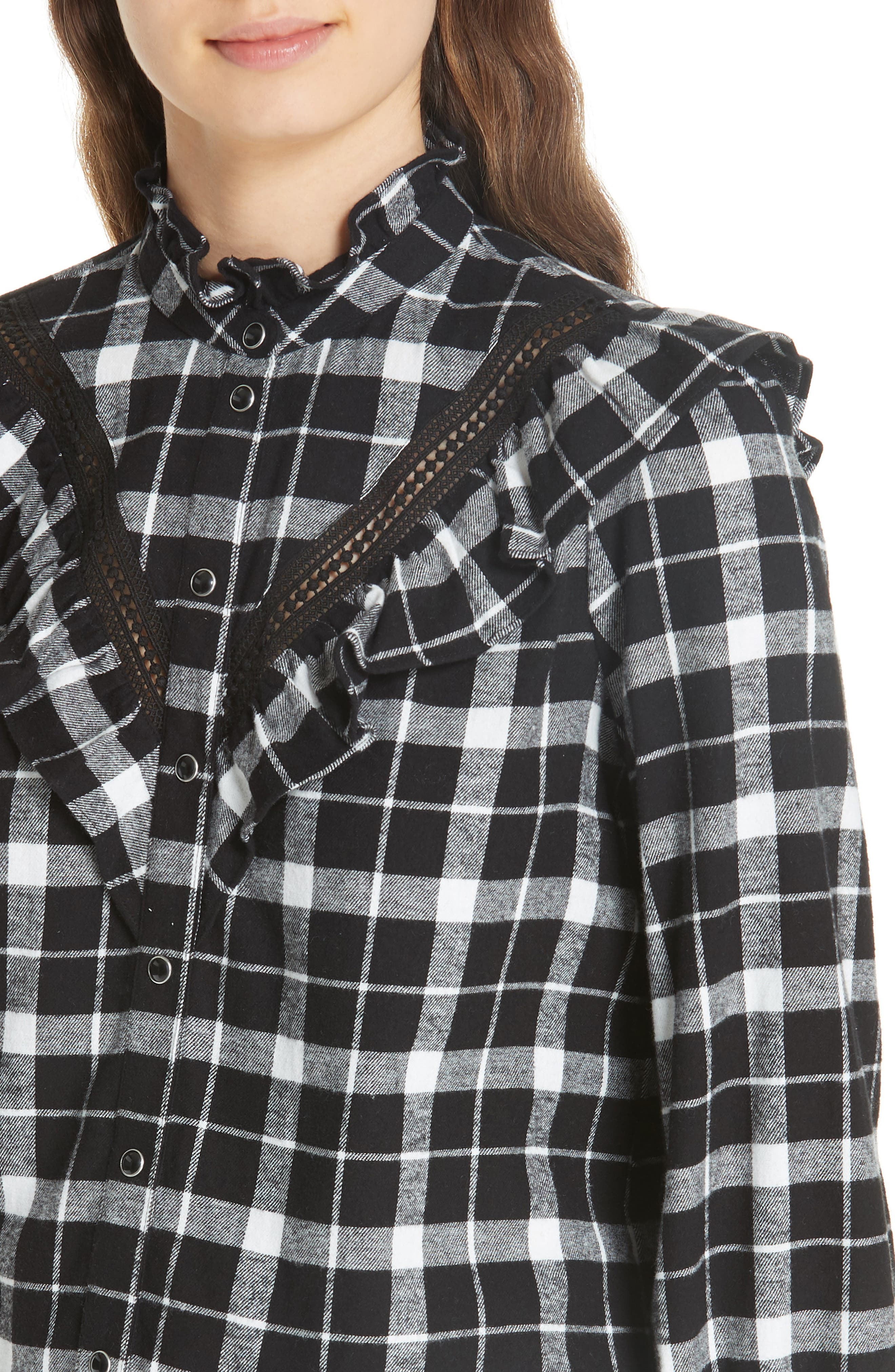 rustic plaid flannel shirt,                             Alternate thumbnail 4, color,                             001