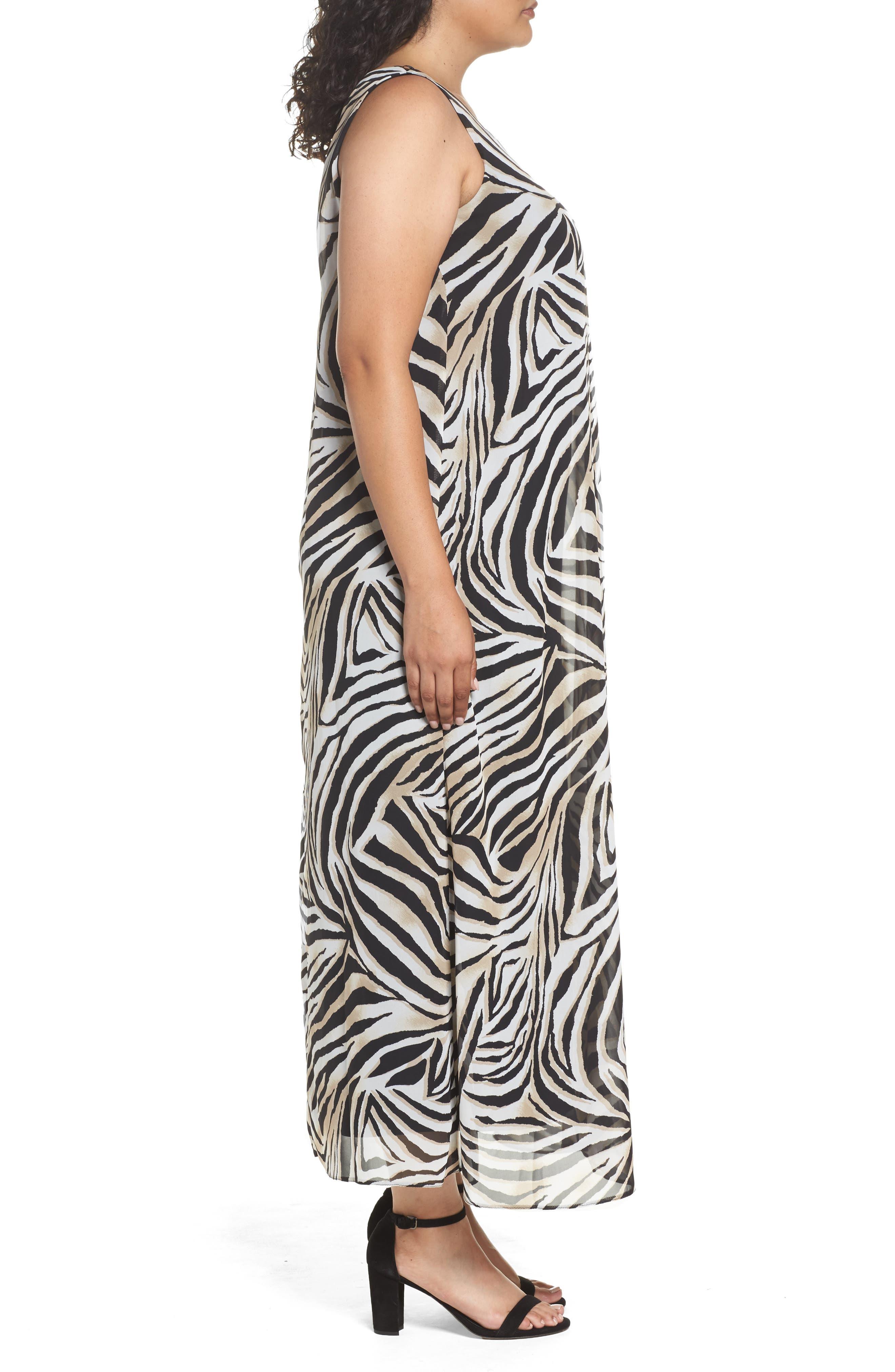 Animal Print Split Maxi Dress,                             Alternate thumbnail 3, color,                             010