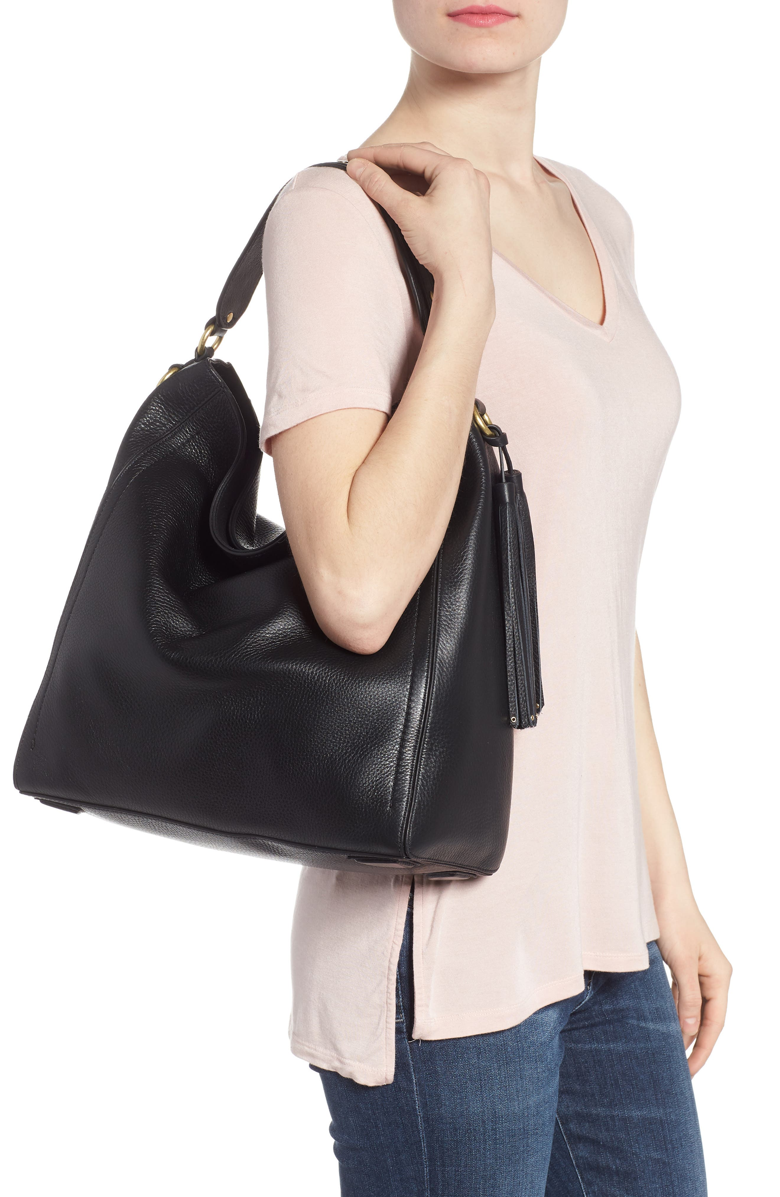 Cassidy RFID Pebbled Leather Bucket Bag,                             Alternate thumbnail 2, color,                             001