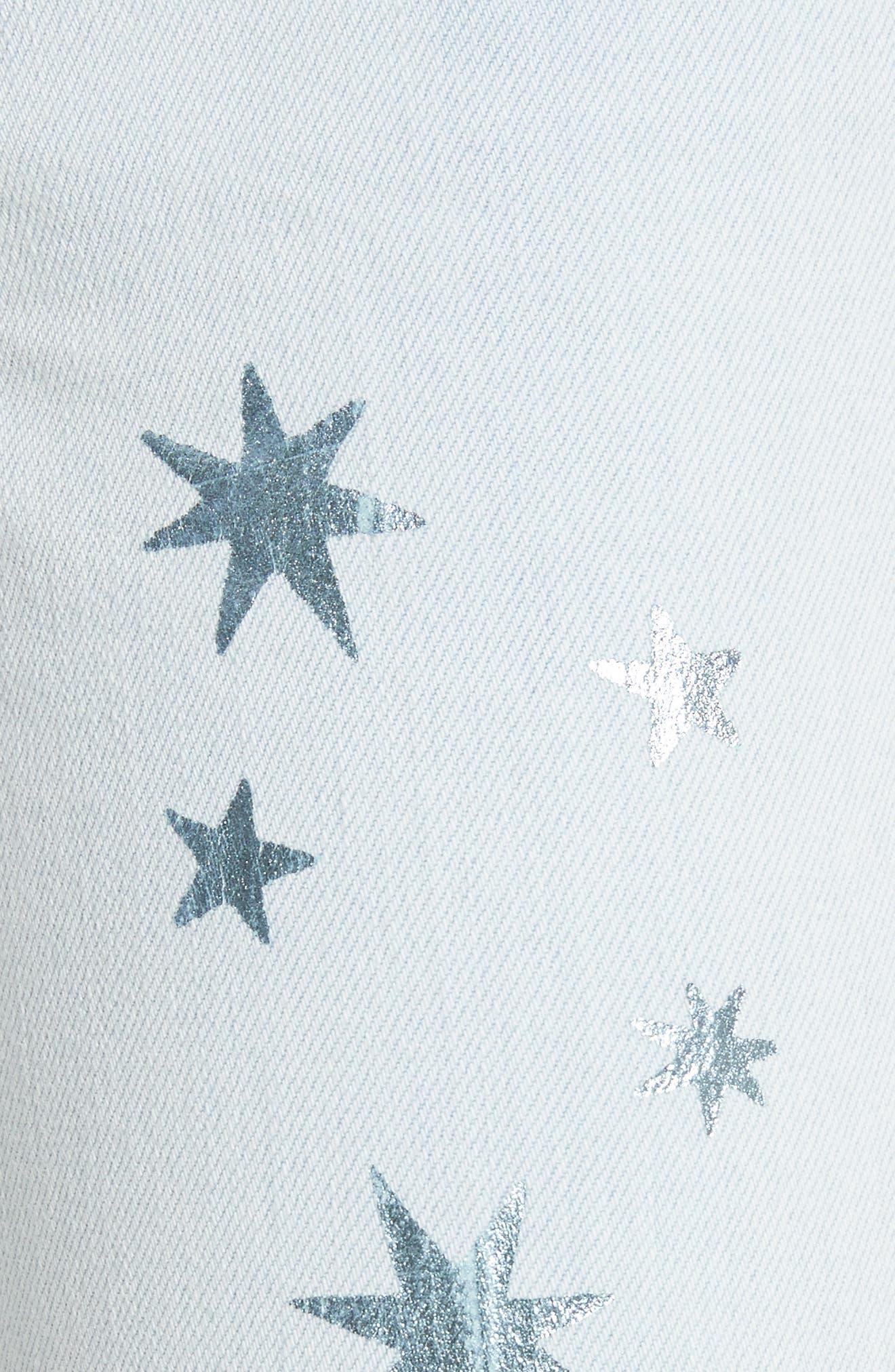 Metallic Star Kick Flare Jeans,                             Alternate thumbnail 5, color,                             464