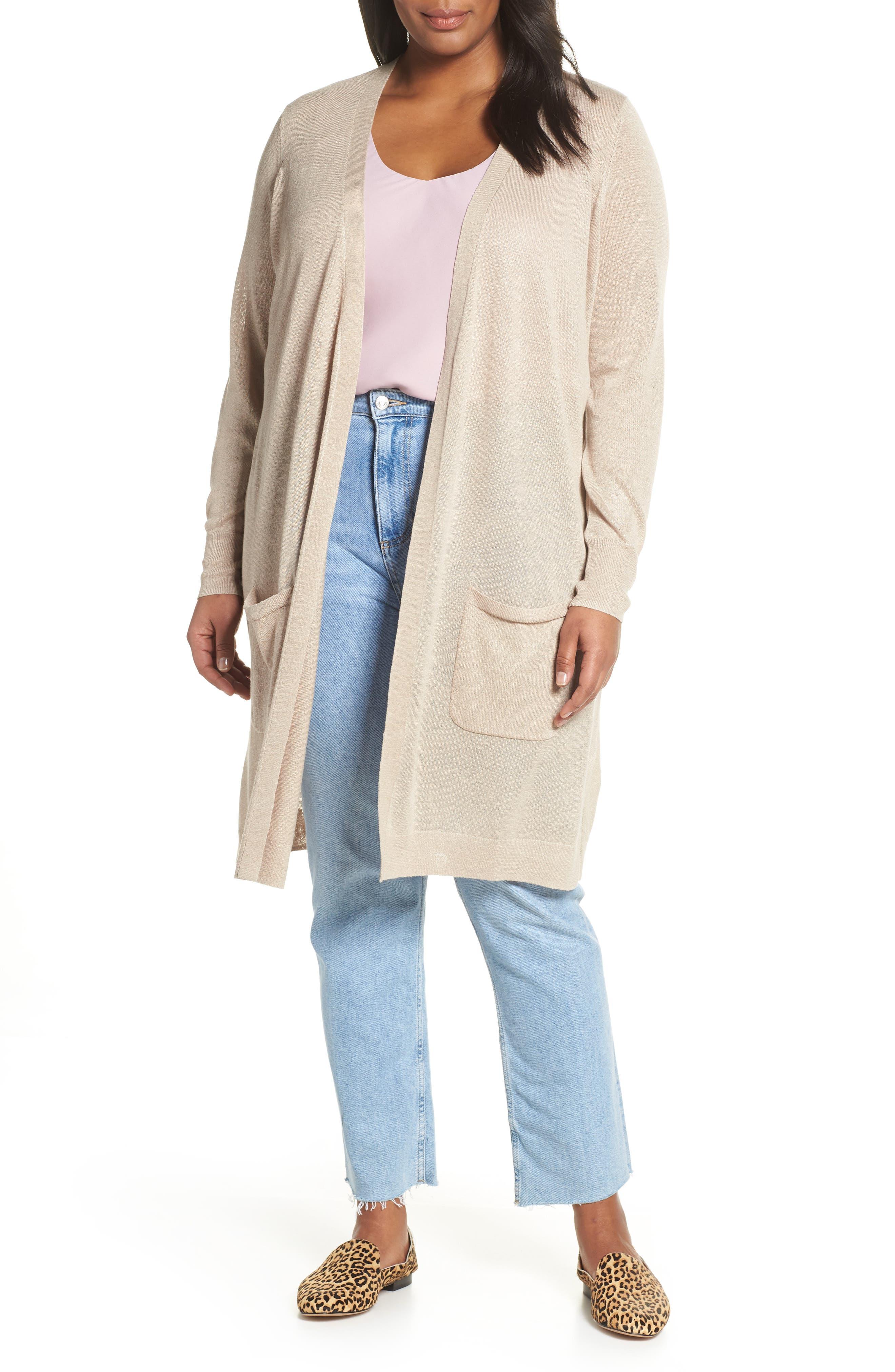 Plus Size Halogen Long Cardigan, Beige