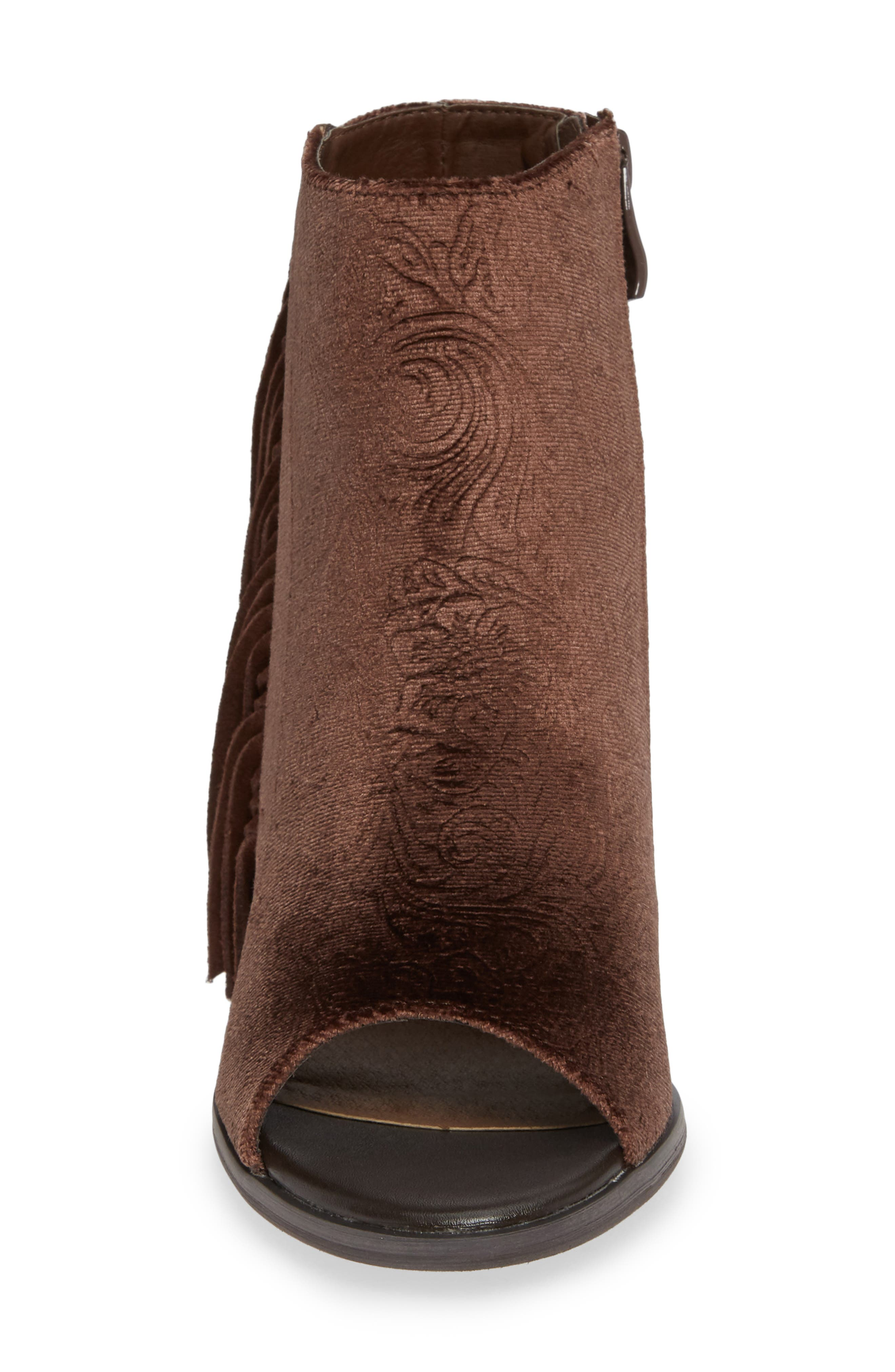 VERY VOLATILE,                             Pony Express Fringe Bootie Sandal,                             Alternate thumbnail 4, color,                             BROWN