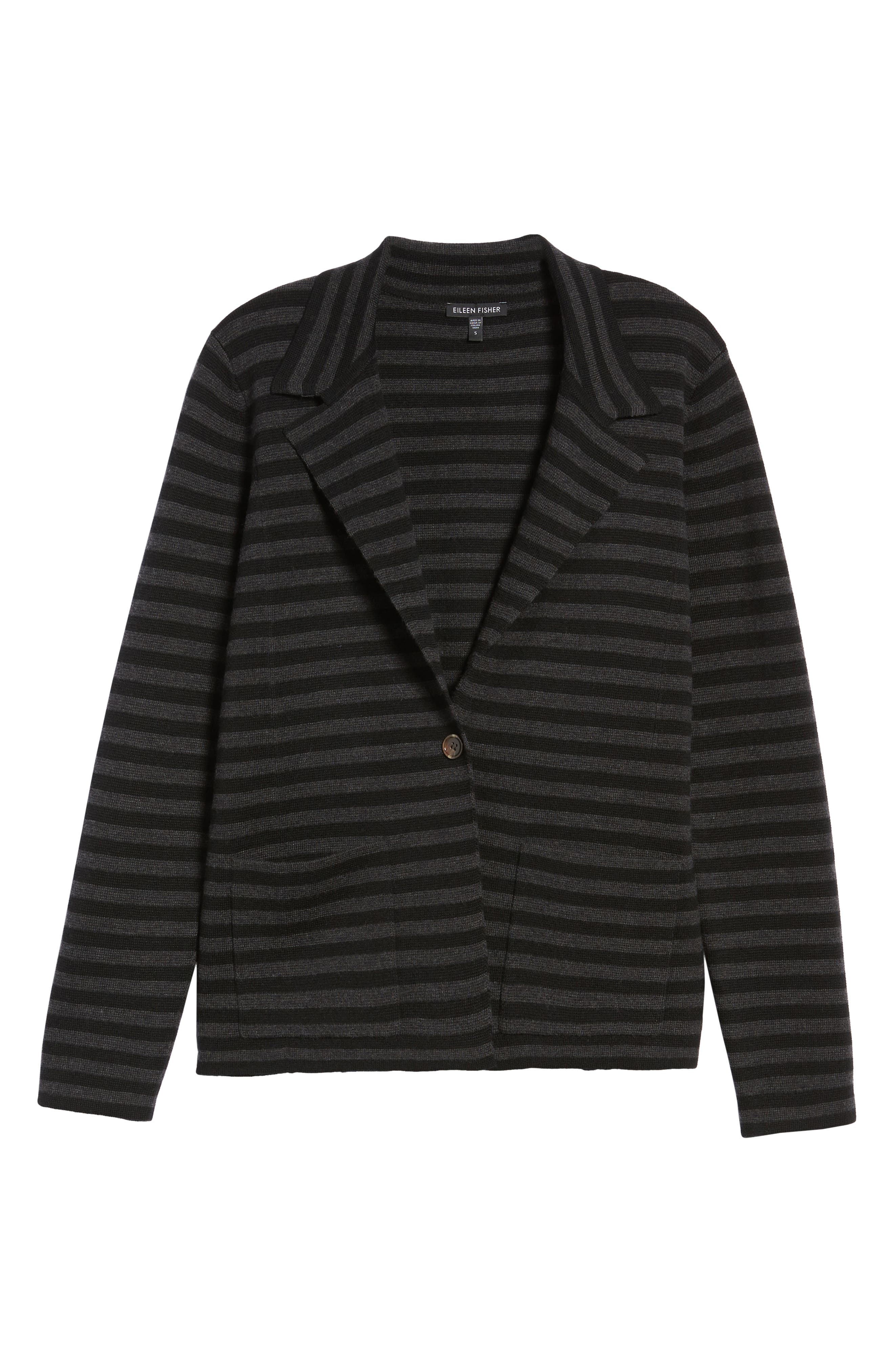 Stripe Merino Wool Knit Blazer,                             Alternate thumbnail 5, color,                             020