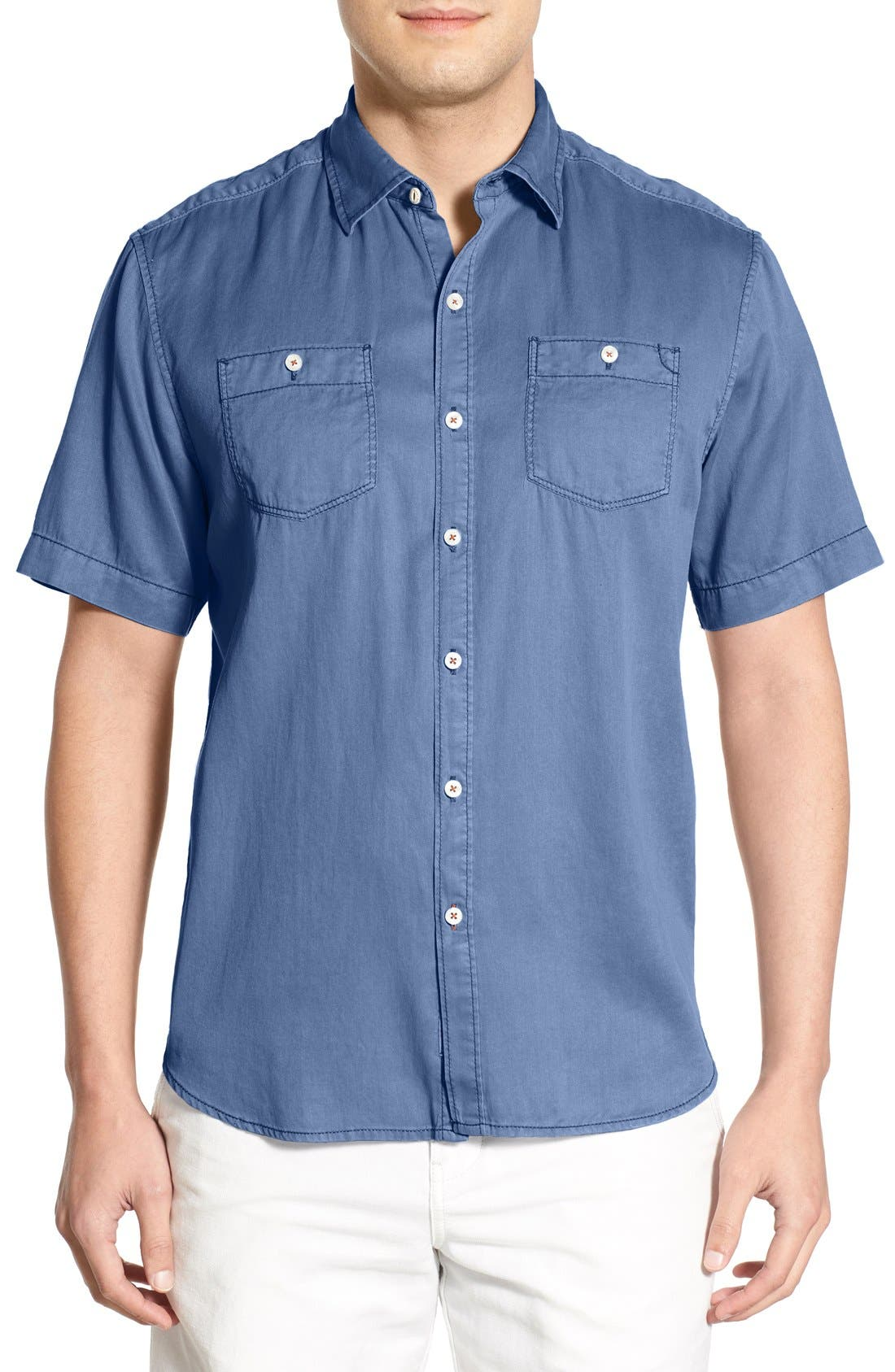 'New Twilly' Island Modern Fit Short Sleeve Twill Shirt,                             Main thumbnail 14, color,
