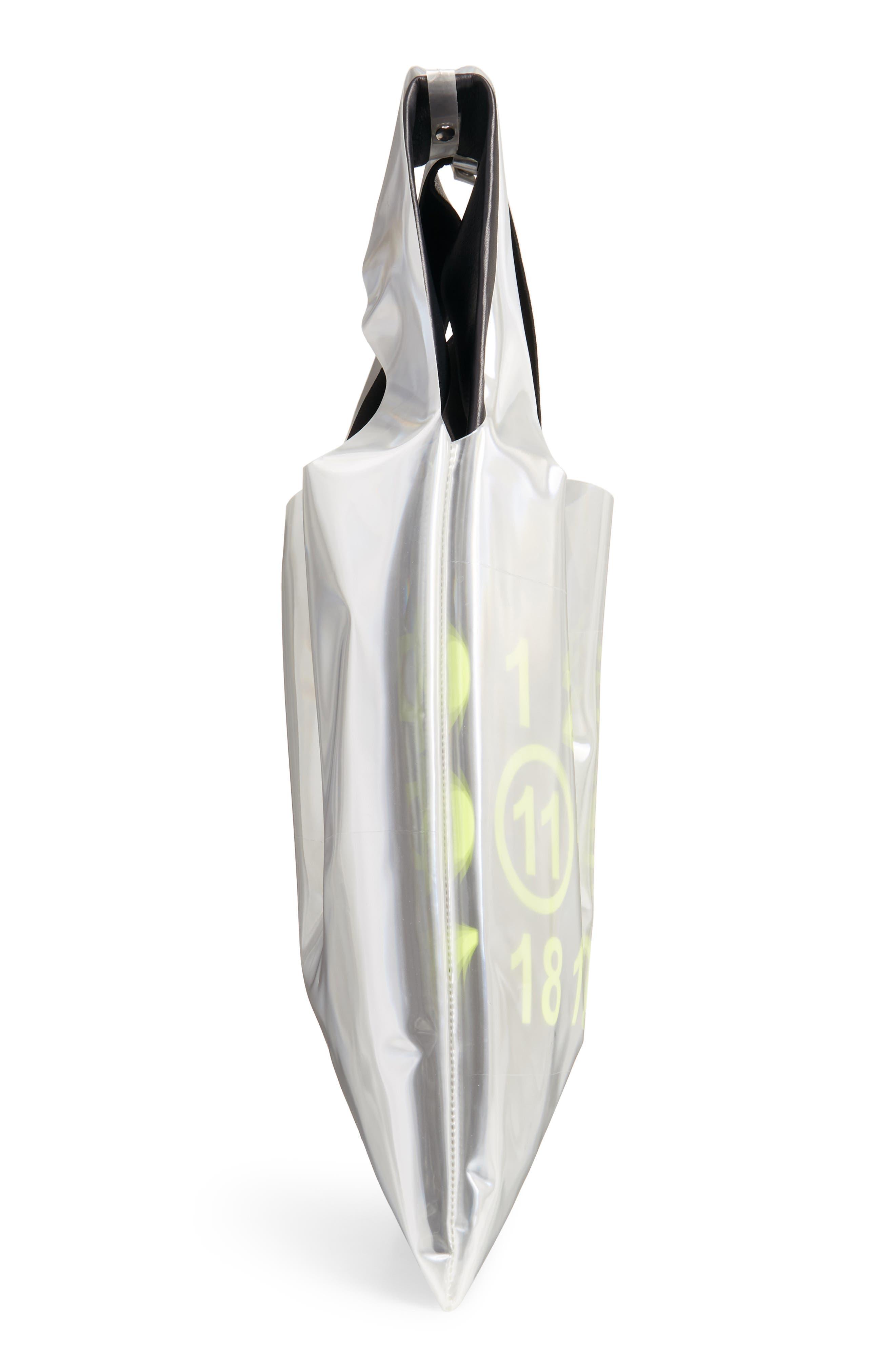 PVC & Leather Shopper Bag,                             Alternate thumbnail 5, color,                             BLACK/ YELLOW FLUO