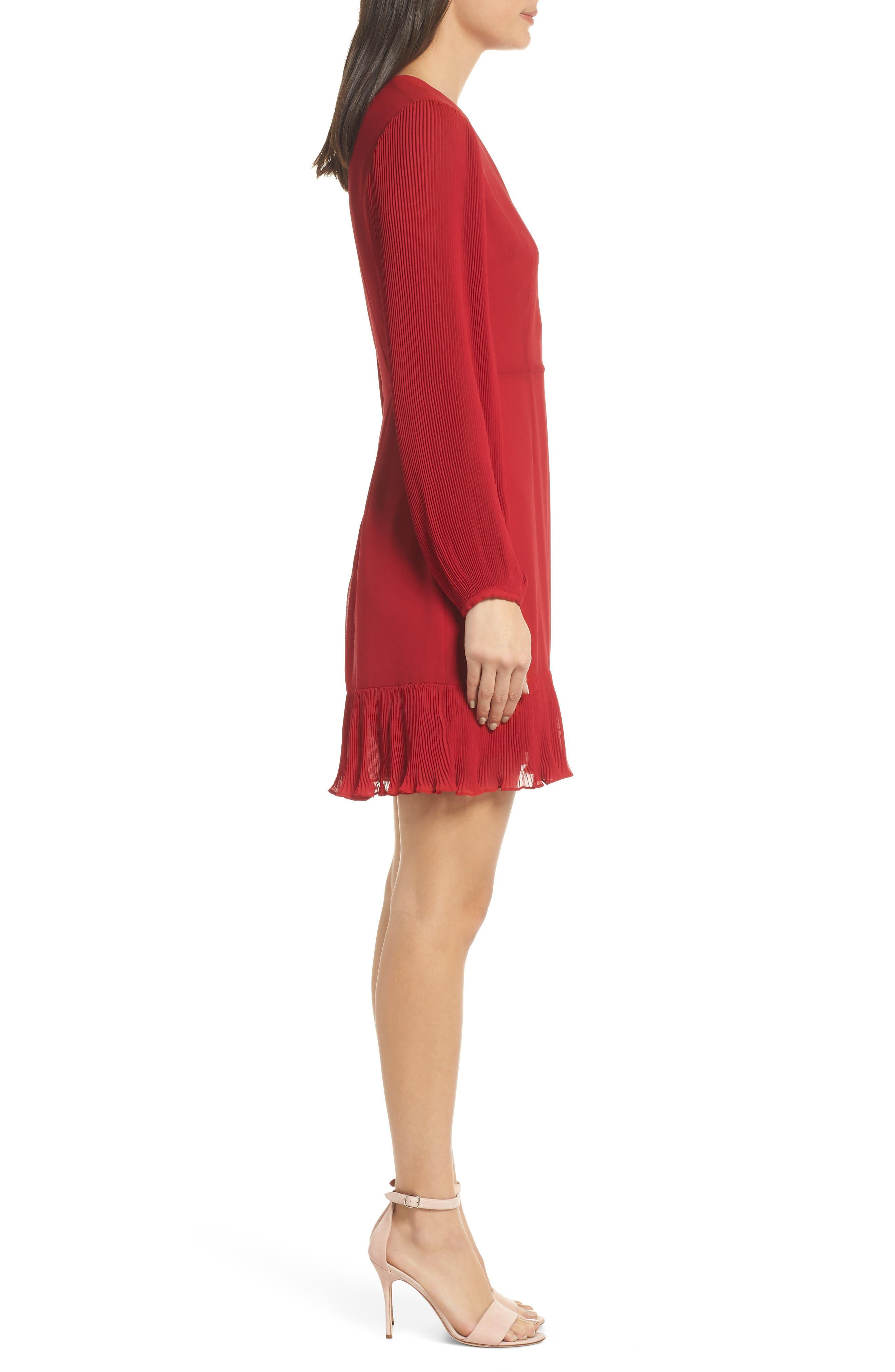 Pleat Sleeve & Ruffle Hem Dress,                             Alternate thumbnail 3, color,                             RED JESTER
