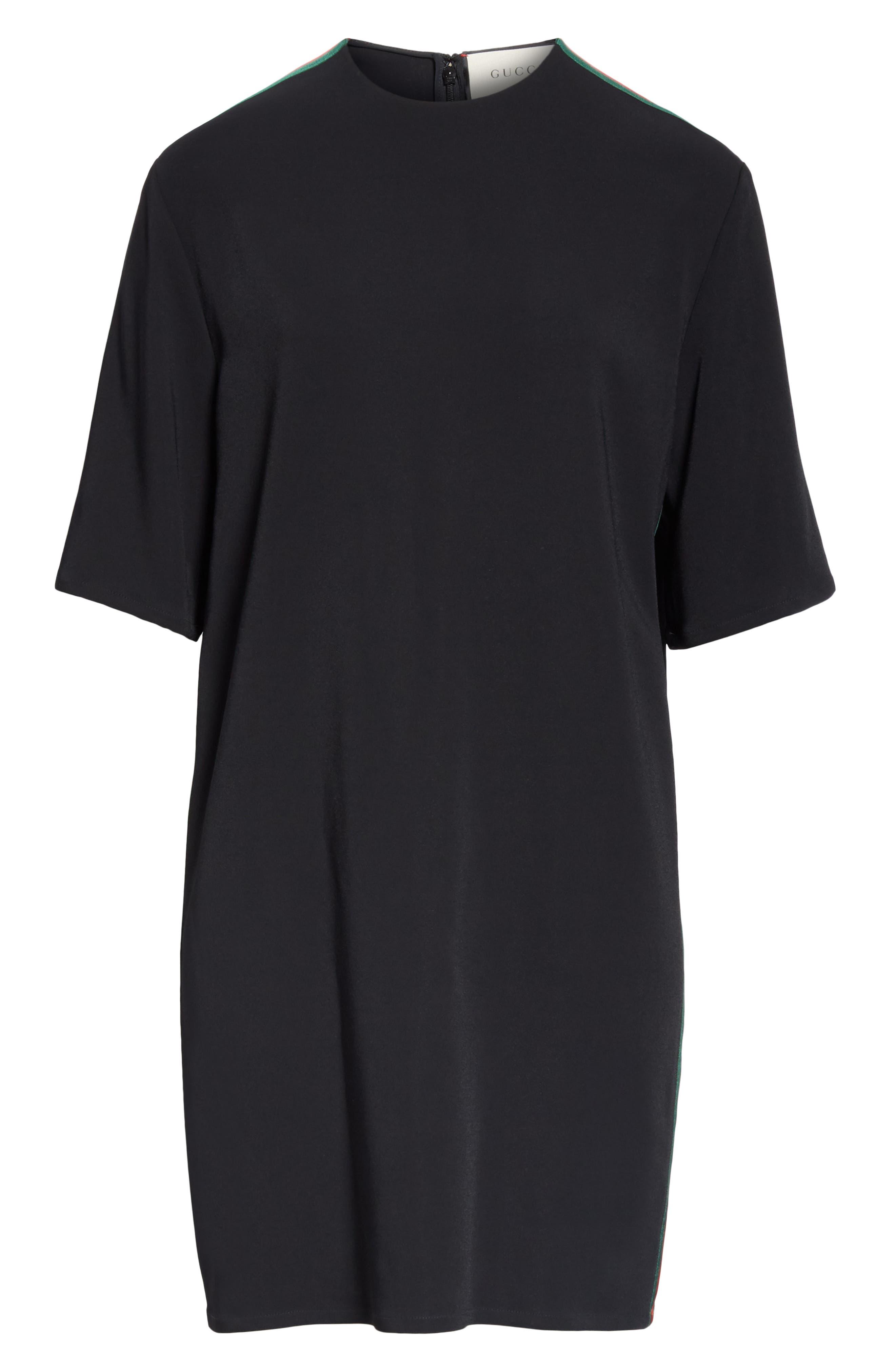 Side Stripe Cady Tunic Dress,                             Alternate thumbnail 5, color,                             BLACK