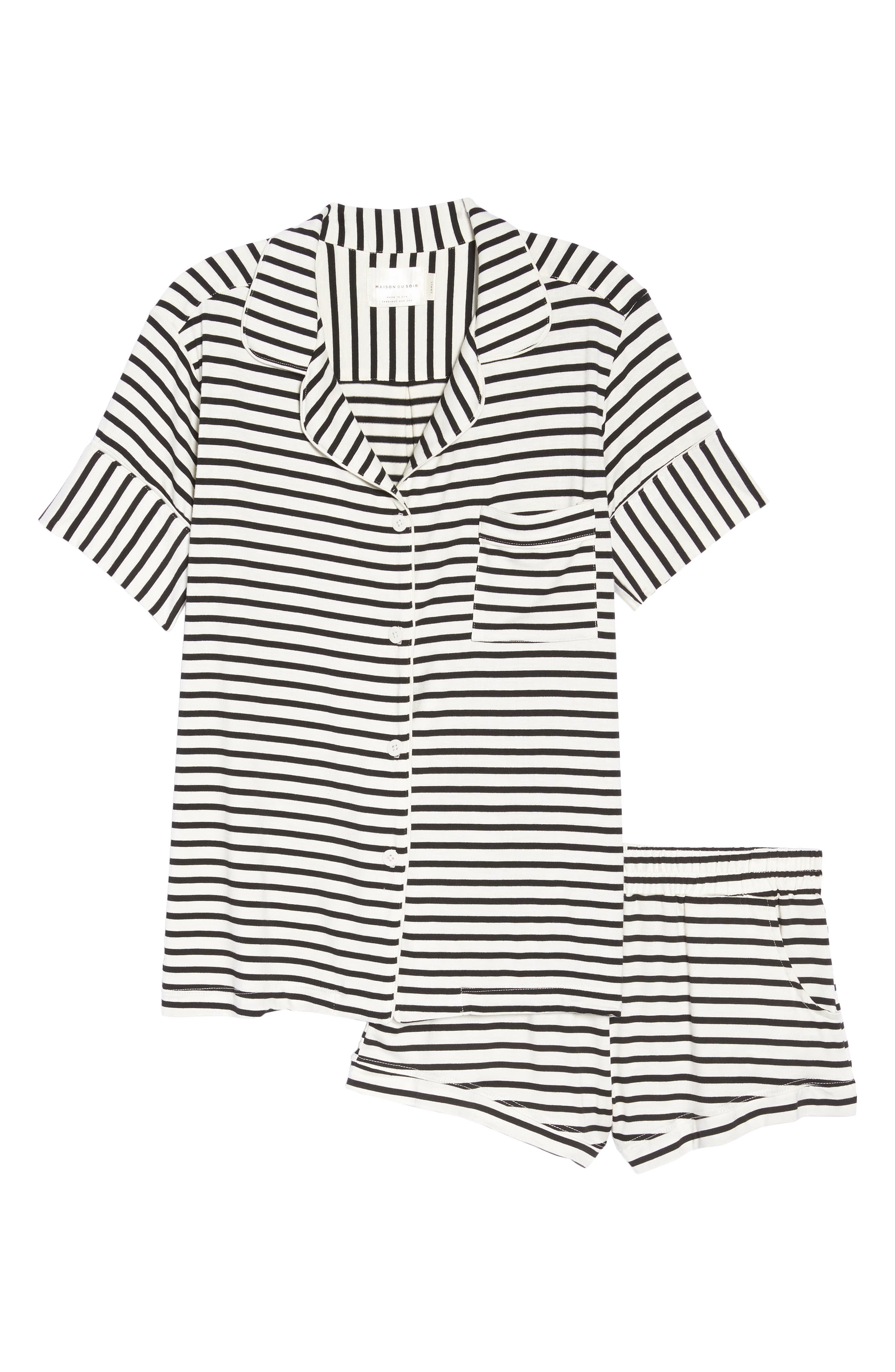 Monaco Short Pajamas,                             Alternate thumbnail 6, color,                             PEARL STRIPE