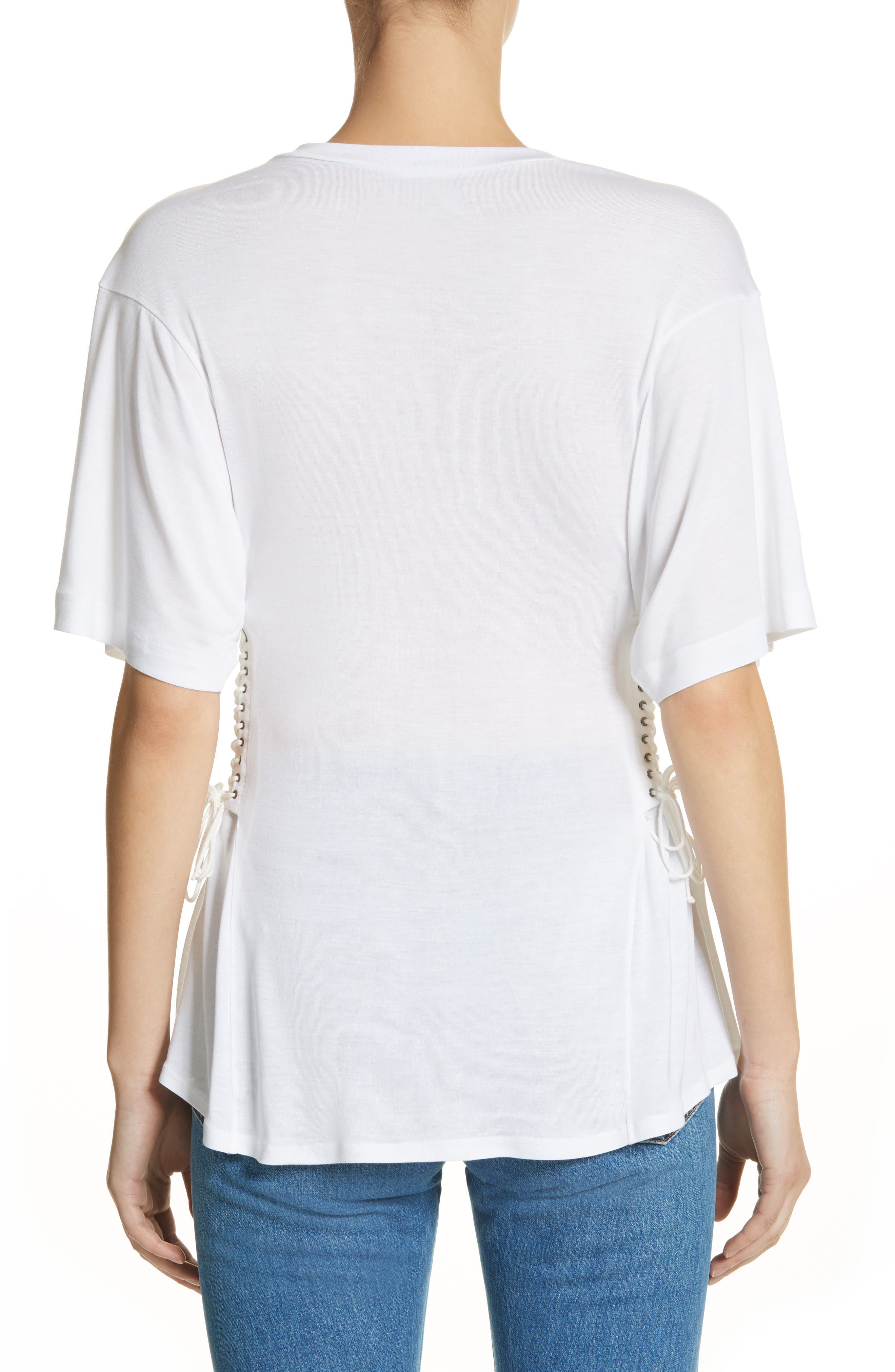 Axel Lace-Up Tee,                             Alternate thumbnail 2, color,                             WHITE