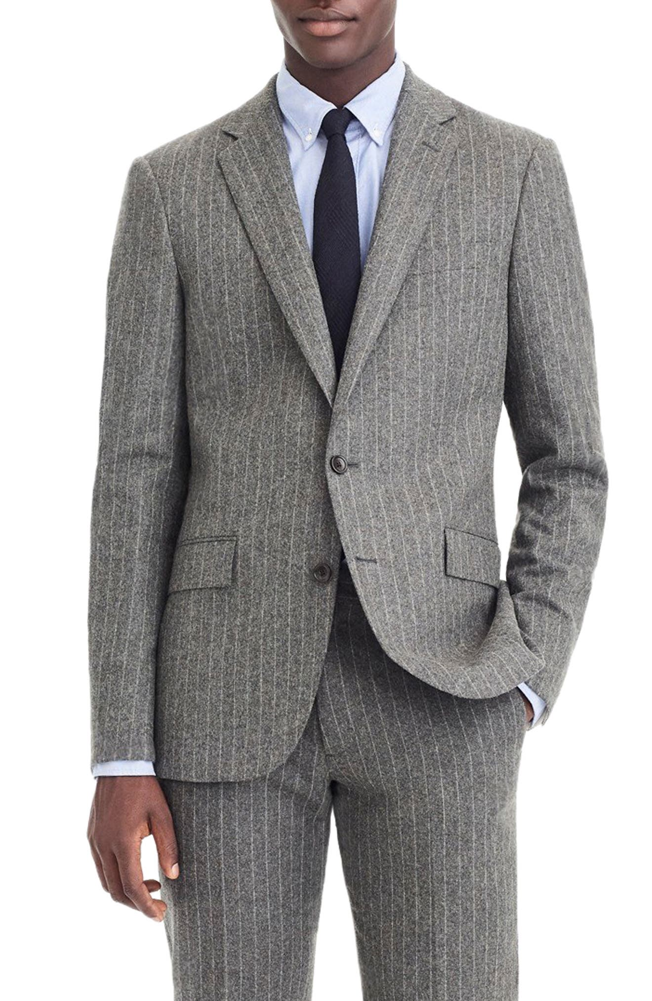 Ludlow Slim Fit Chalk Stripe Wool Blend Suit Jacket,                             Main thumbnail 1, color,                             LIGHT CHARCOAL CHALK STRIPE