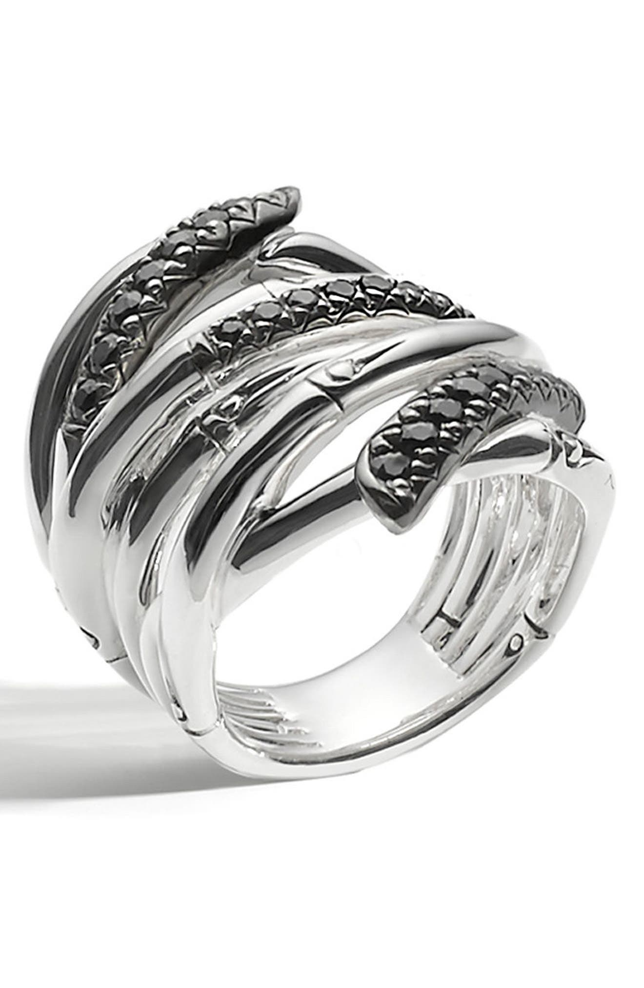 'Bamboo - Lava' Extra Wide Sapphire Stack Ring,                             Alternate thumbnail 2, color,                             SILVER/ BLACK SAPPHIRE