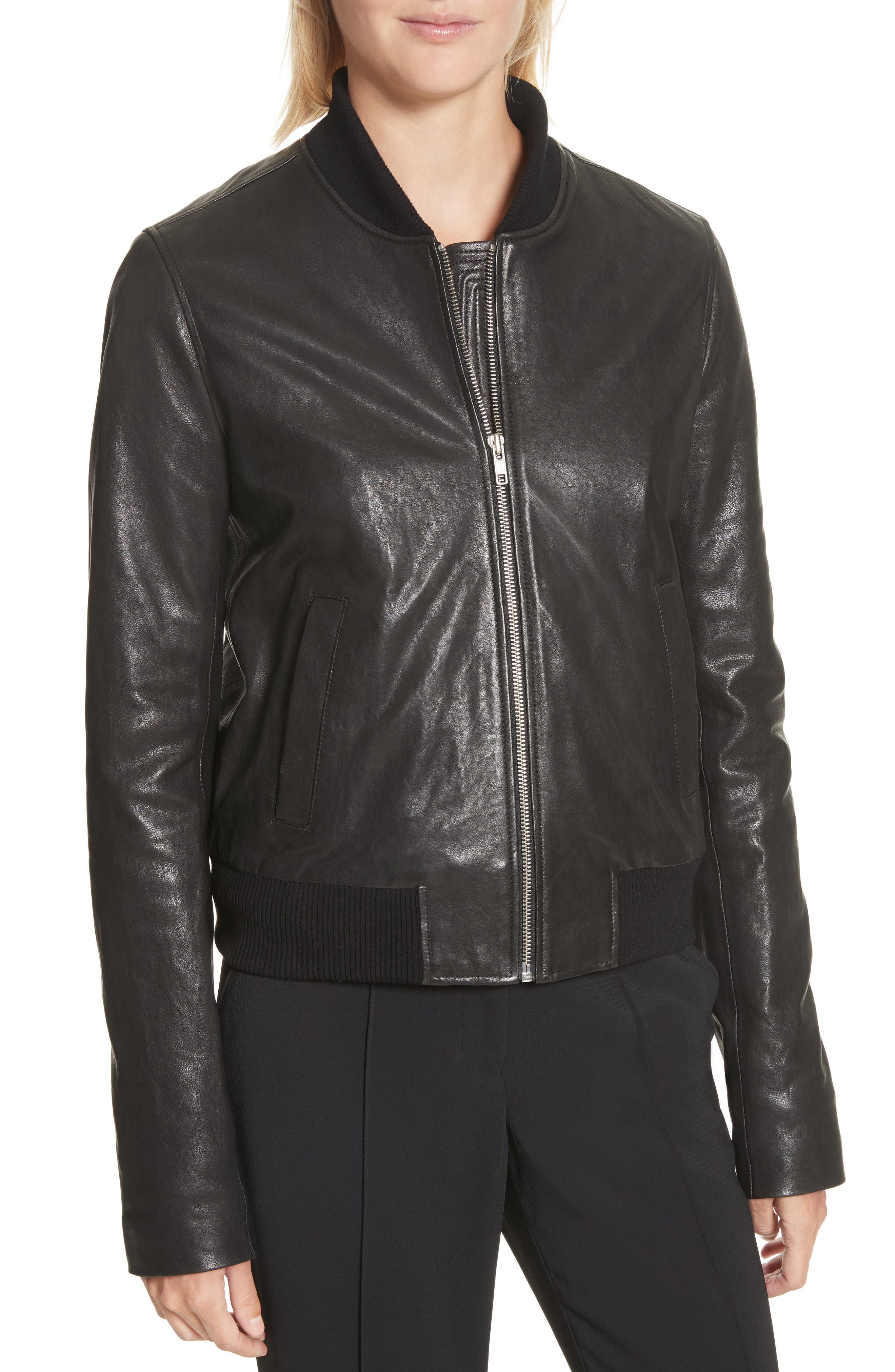 Edison Leather Jacket with Removable Hooded Inset,                             Alternate thumbnail 4, color,                             001