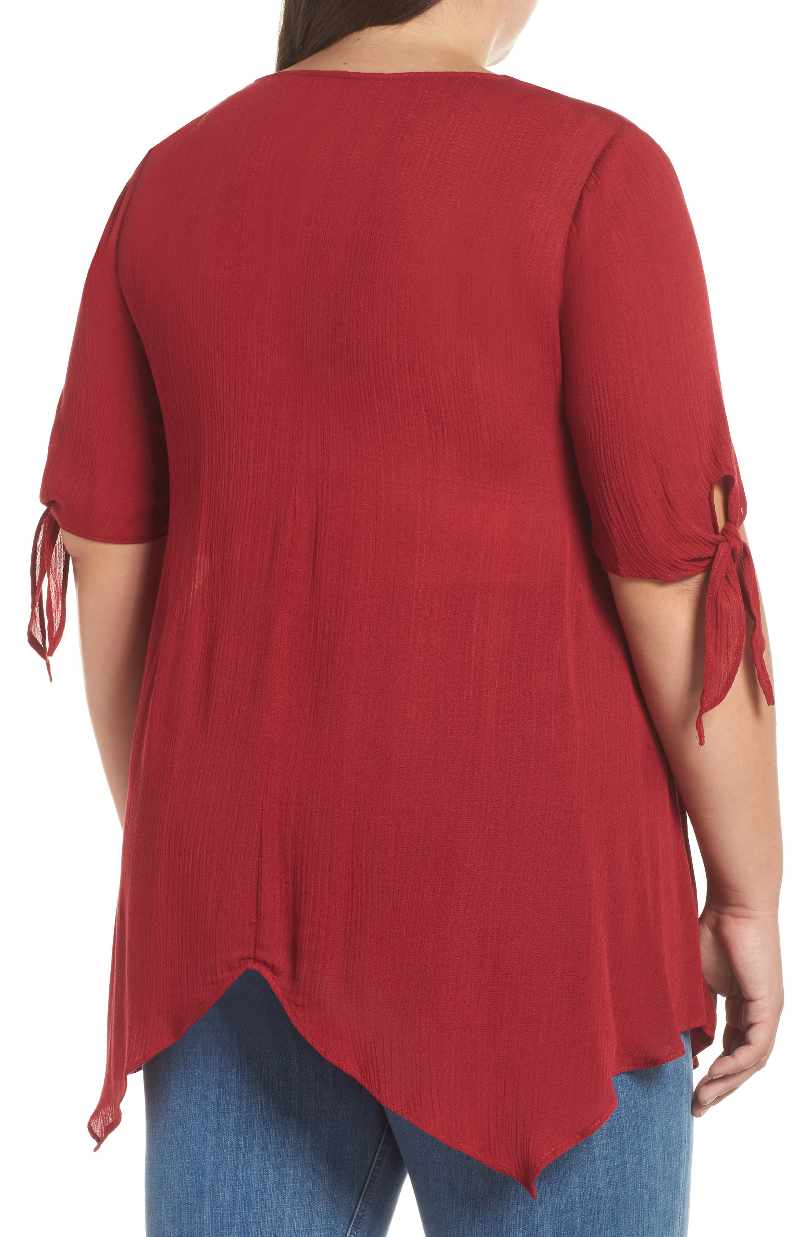 Tie Sleeve Button Front Tunic Top,                             Alternate thumbnail 2, color,                             MAROON