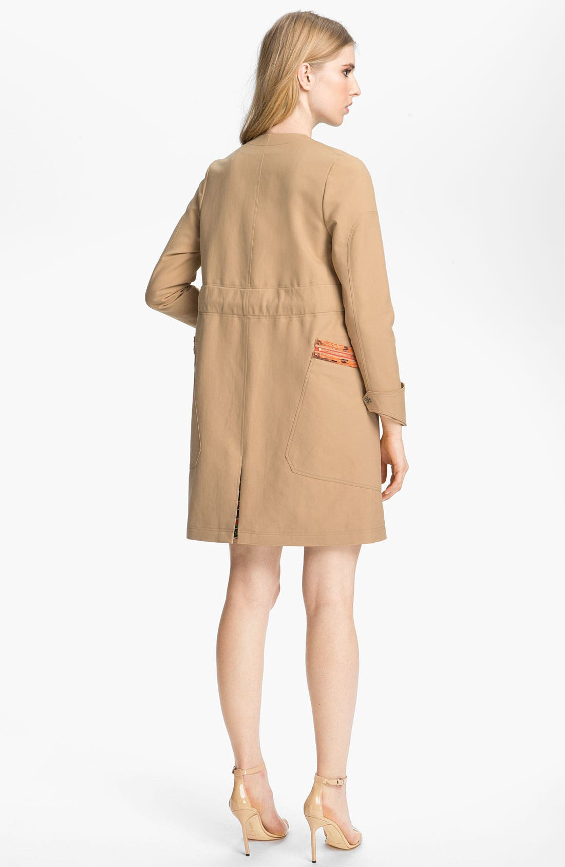 Belted Leather Trim Trench Coat,                             Alternate thumbnail 4, color,                             250