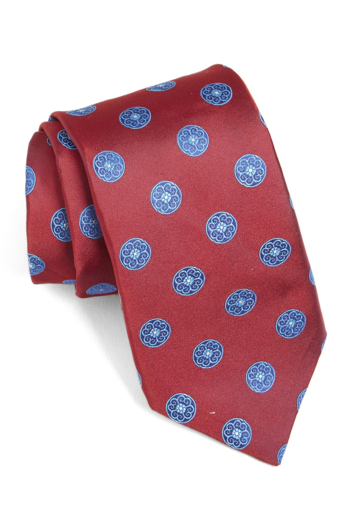 Medallion Woven Silk Tie,                             Main thumbnail 5, color,